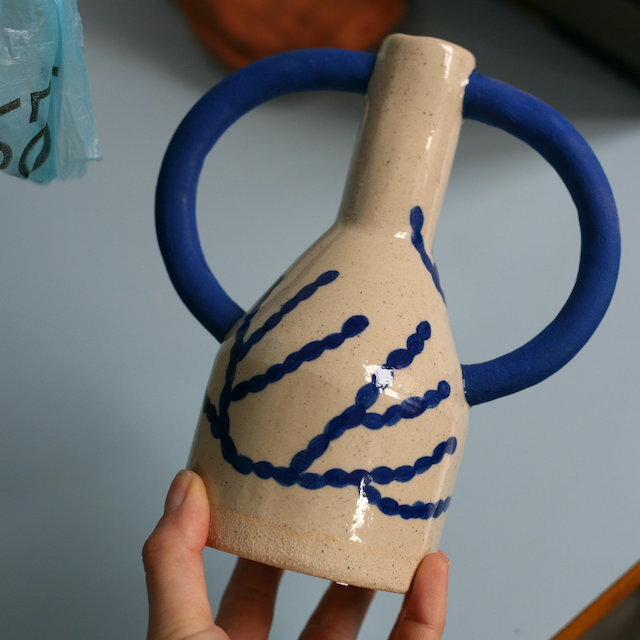 """Sophie Alda """"Patterned jug eared vase"""""""