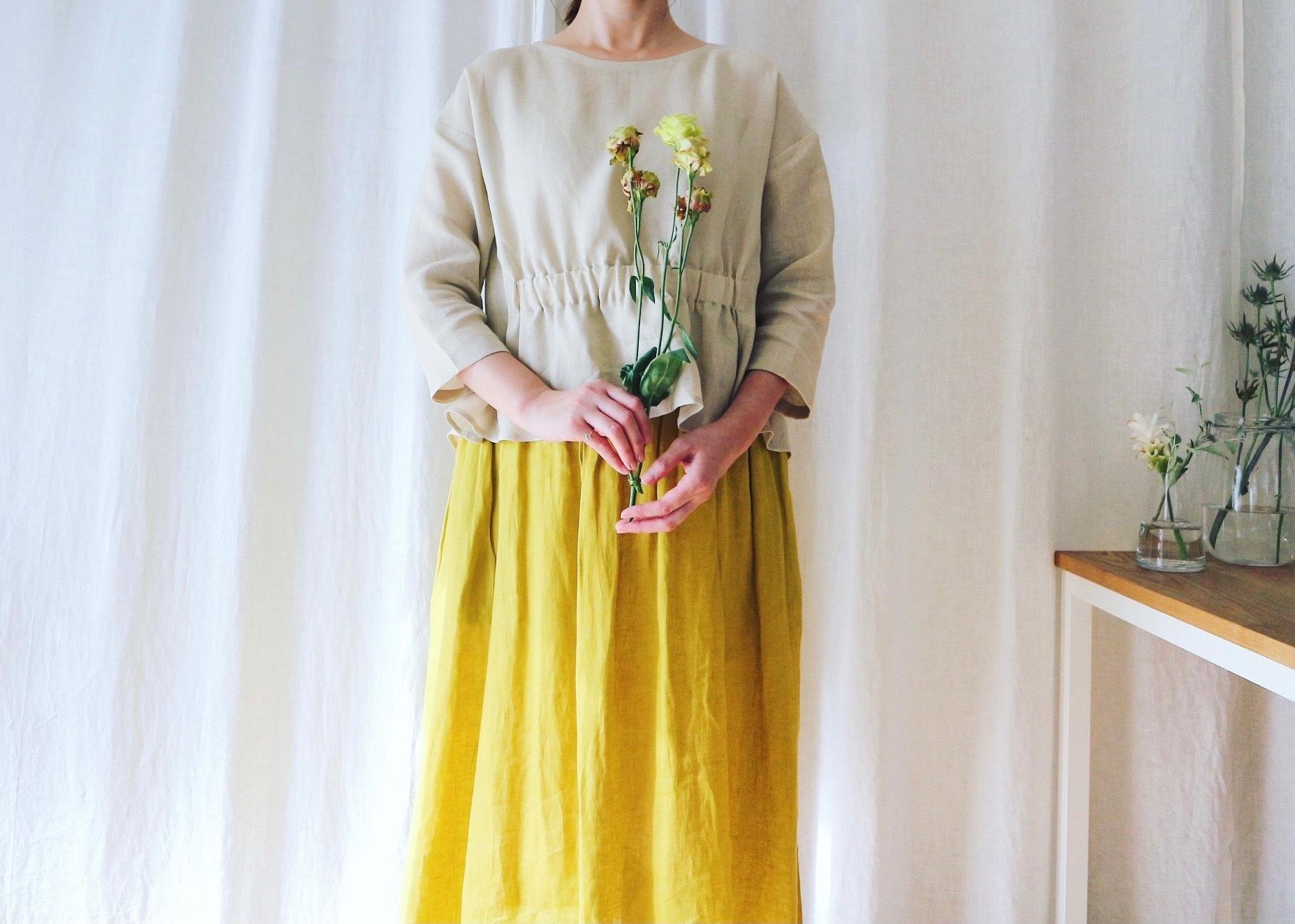 鮮やかなイエローリネンのダブルギャザースカート(ピスタチオイエロー)リネン100%