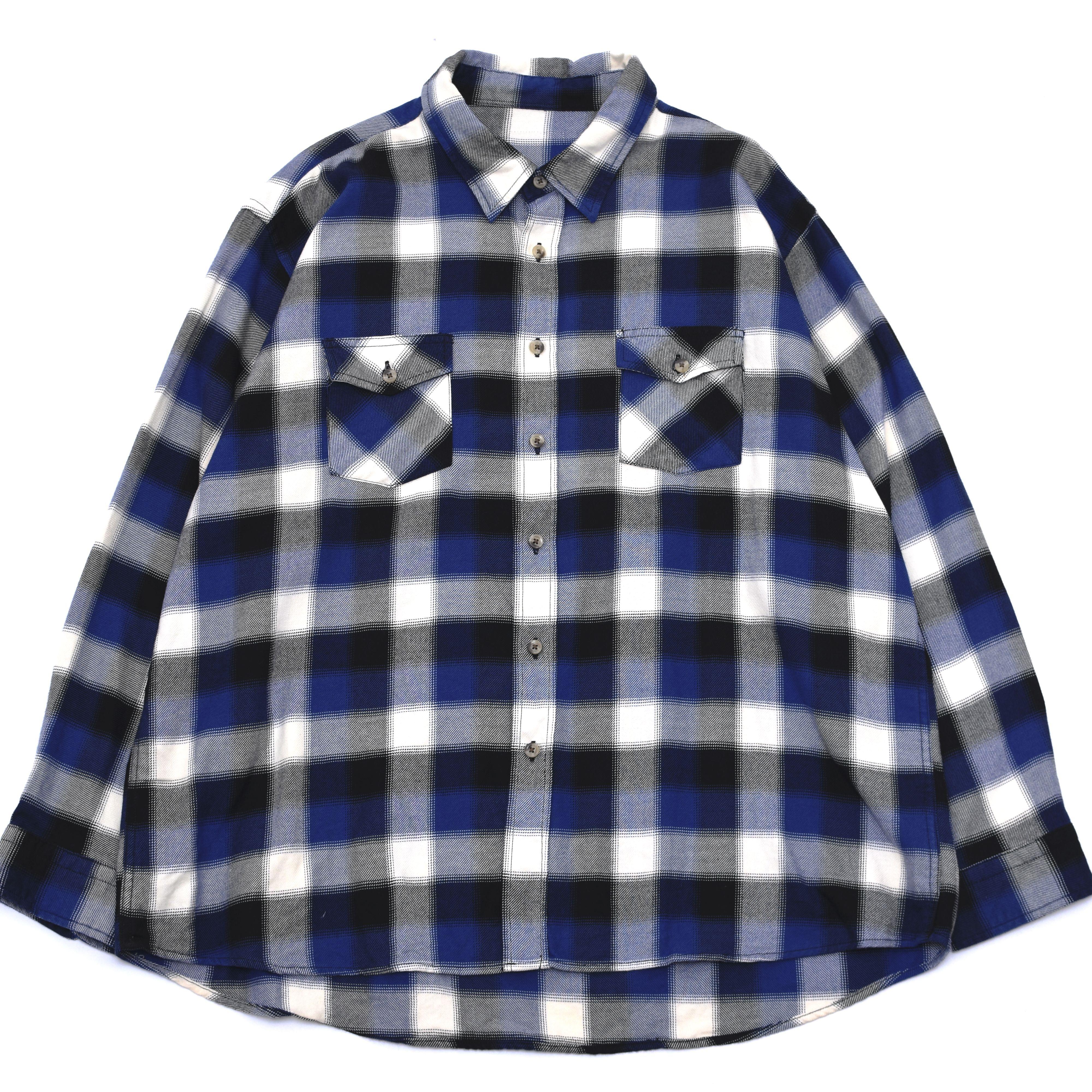Blue×White Ombre check shirt