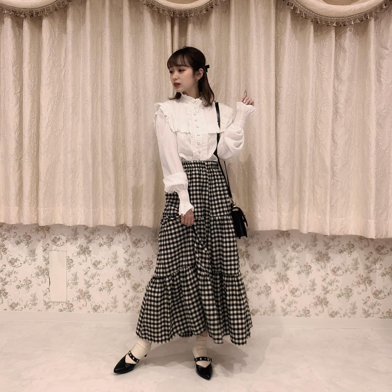 【meltie】gingham tiered skirt