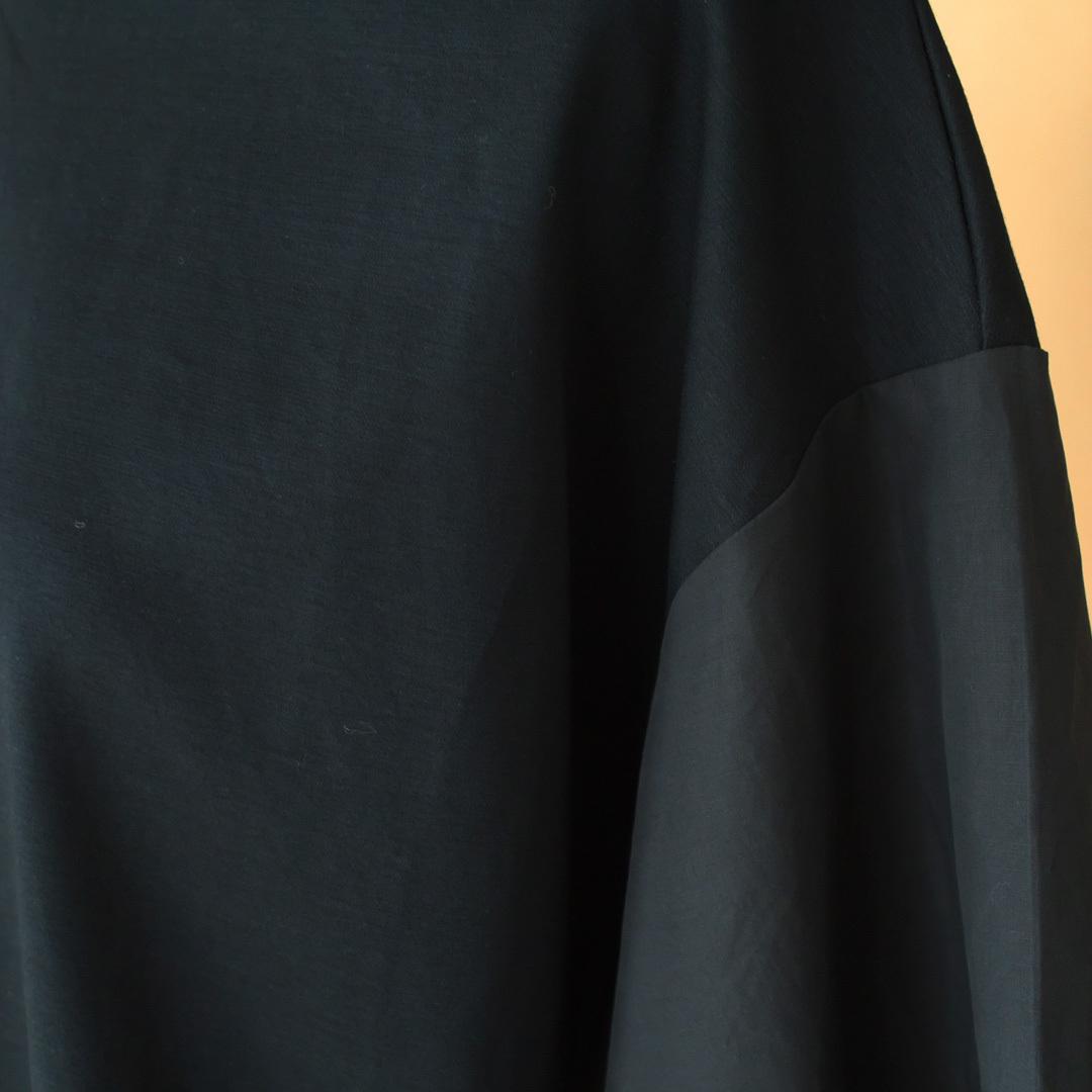 Gauze# ガーゼ G503 switching wide T-shirt スウィッチングワイドTシャツ・ブラック