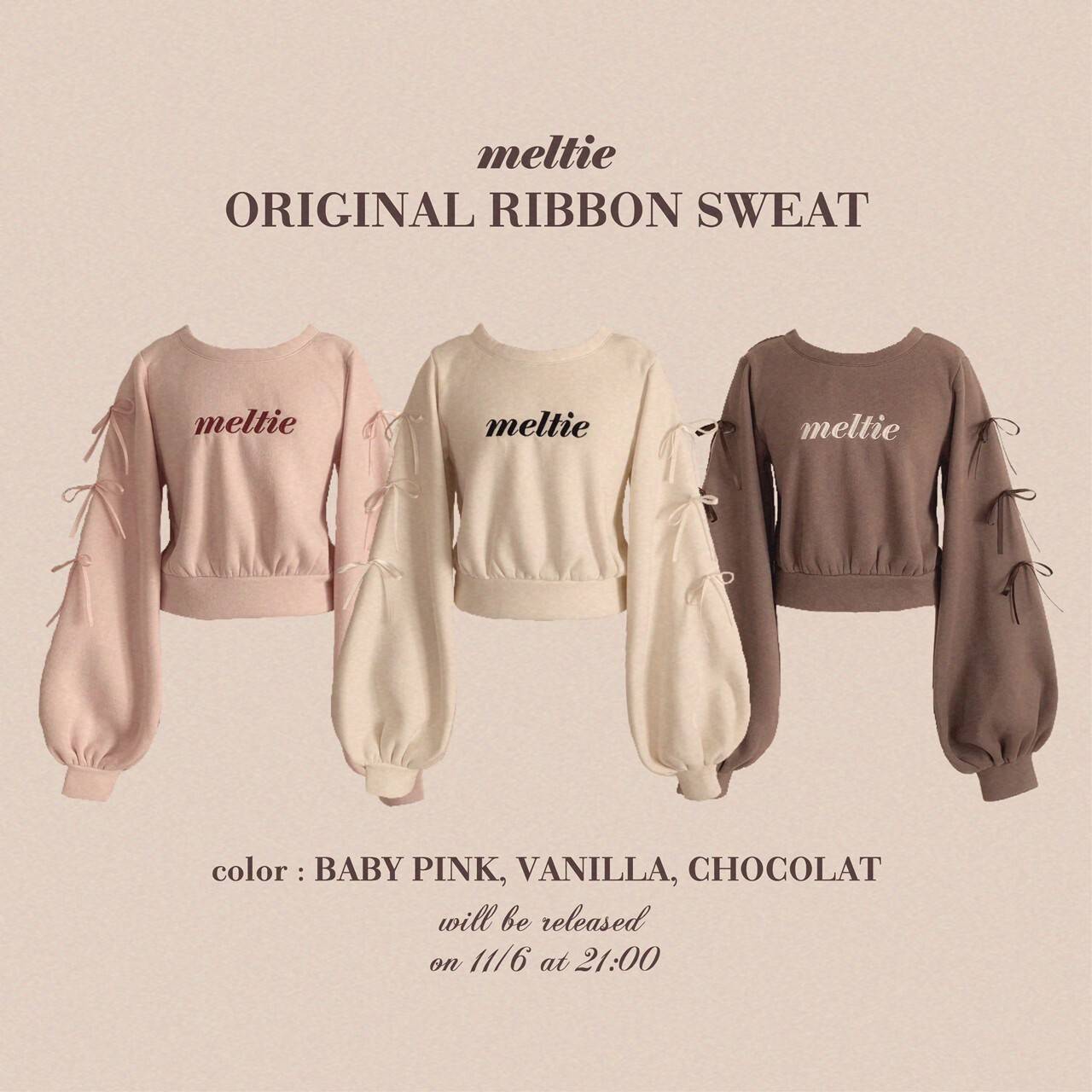 【meltie】original ribbon sweat