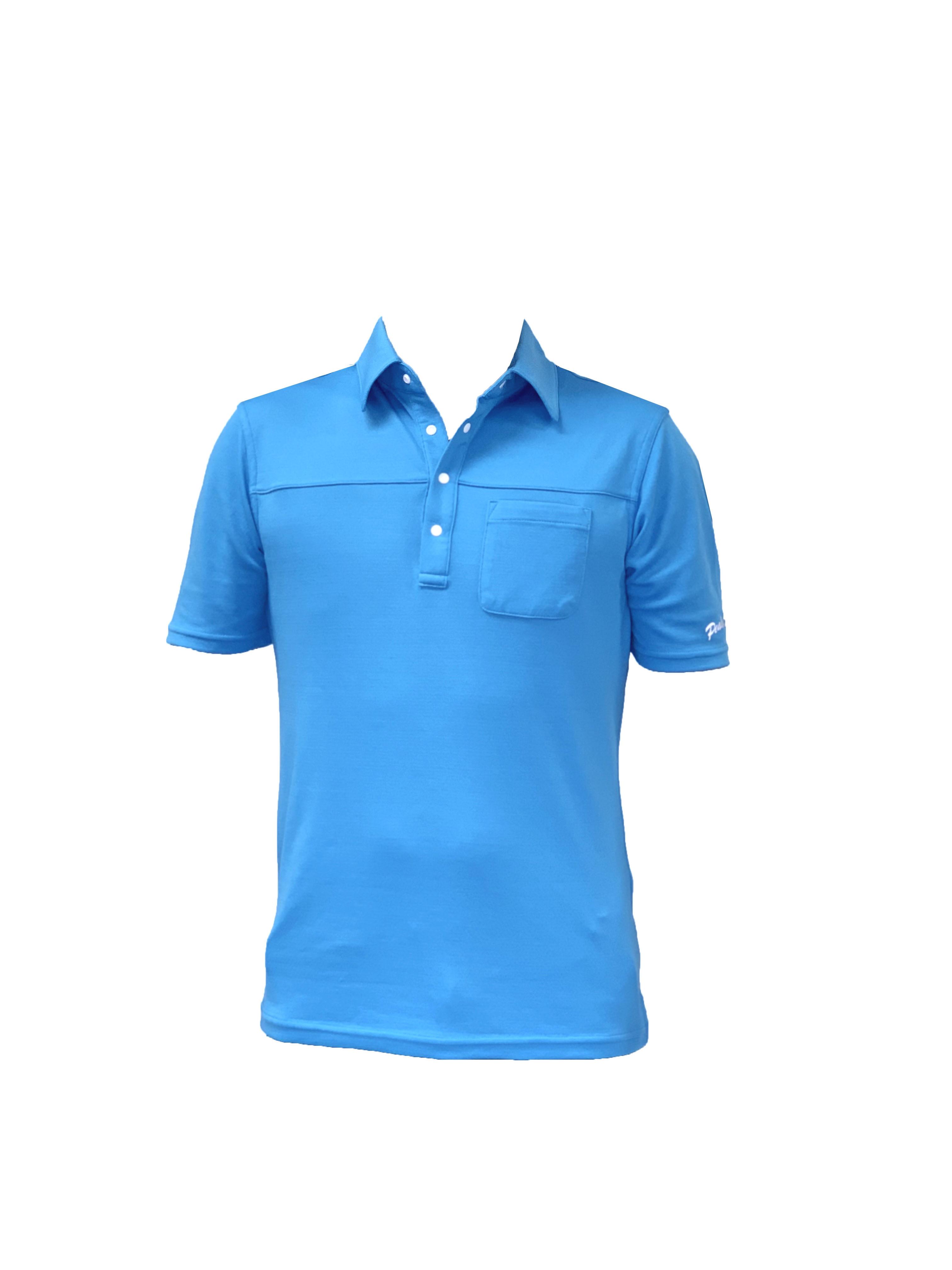 【期間限定2021年8月末まで】P819SS01 接触冷感 メンズポロシャツ(ブルー)