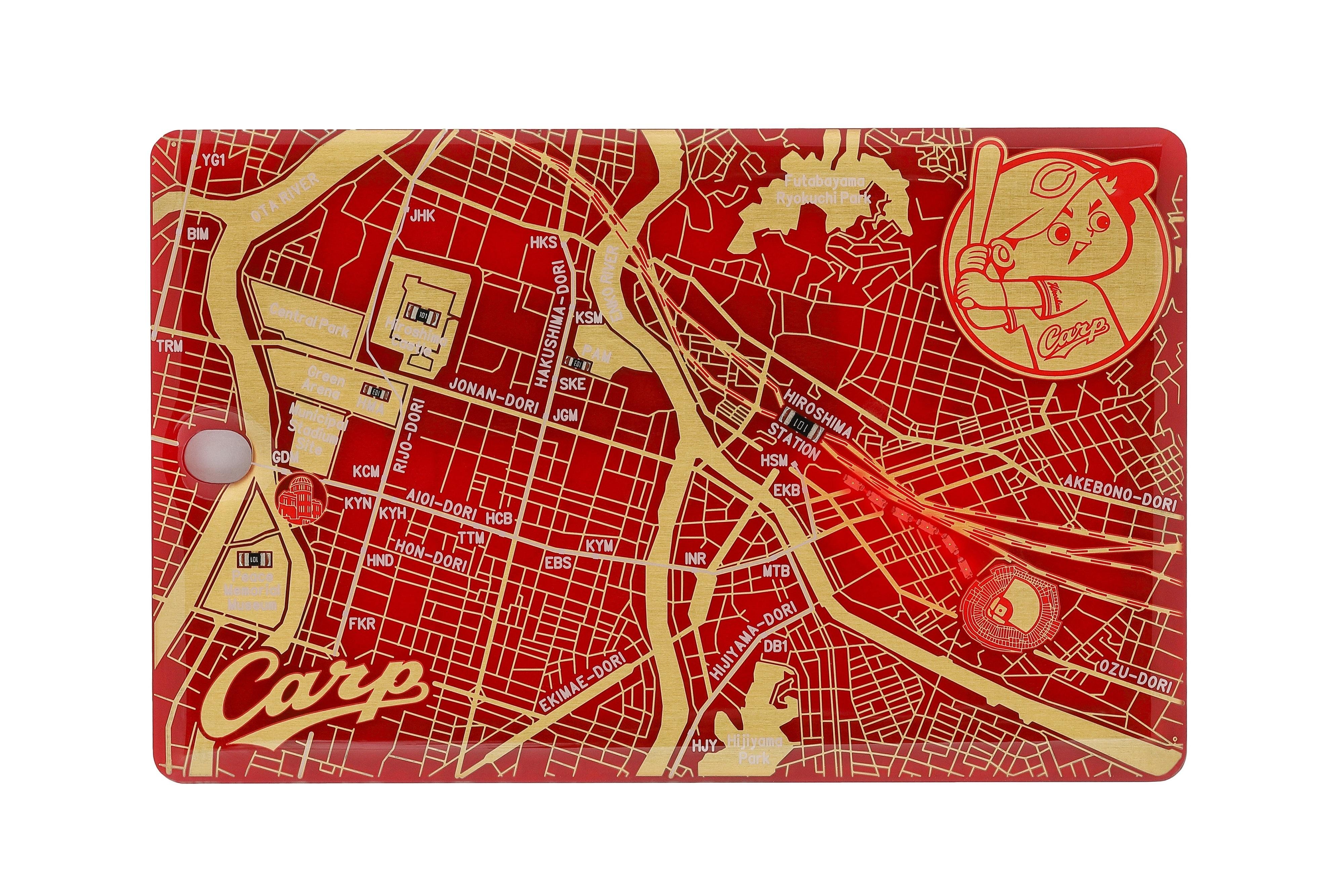 FLASH 広島カープ 基板アートICカードケース 赤 【名入れ無料サービス実施中】