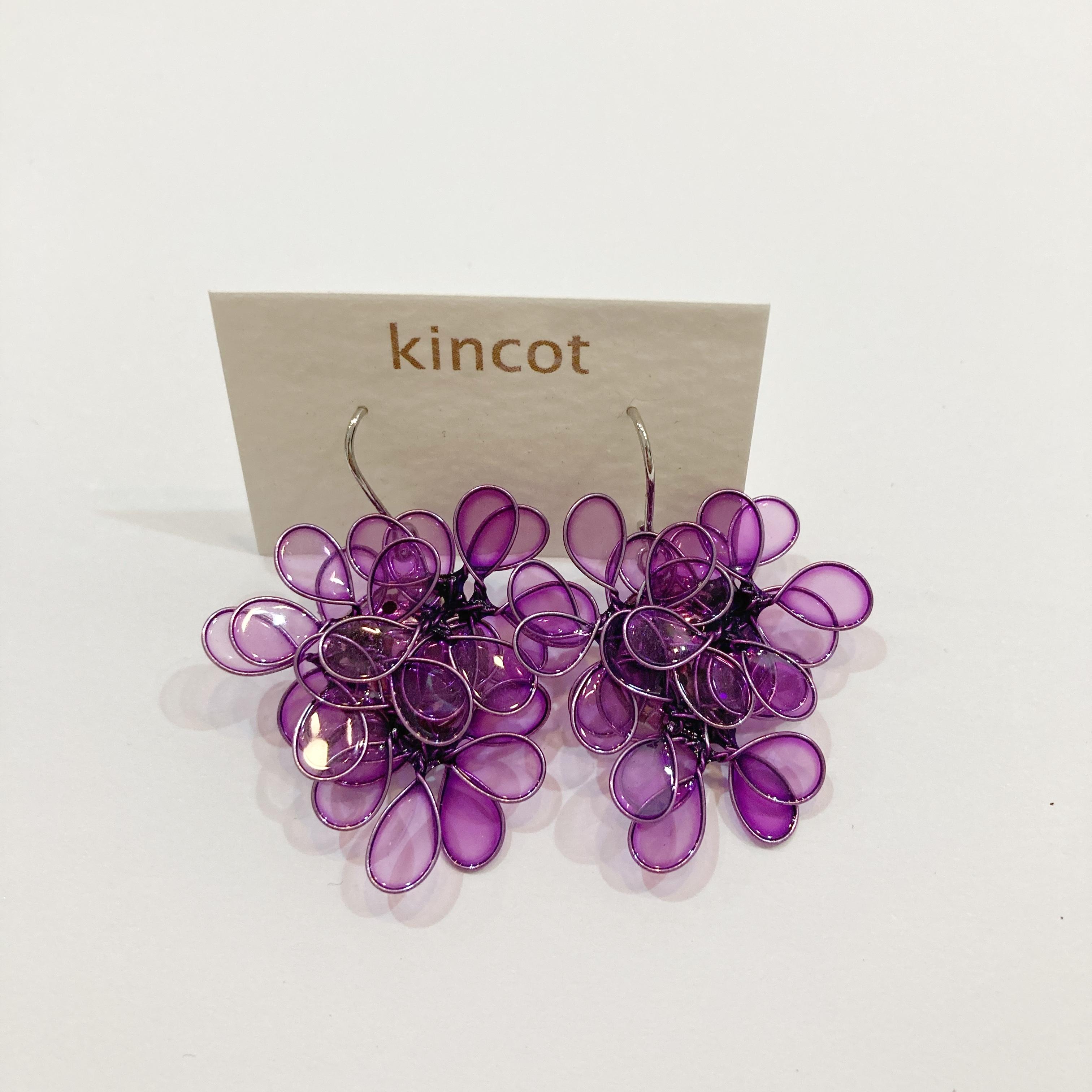 【kincot】アメリカンフラワーピアス(クリアパープル)パーツ交換可能