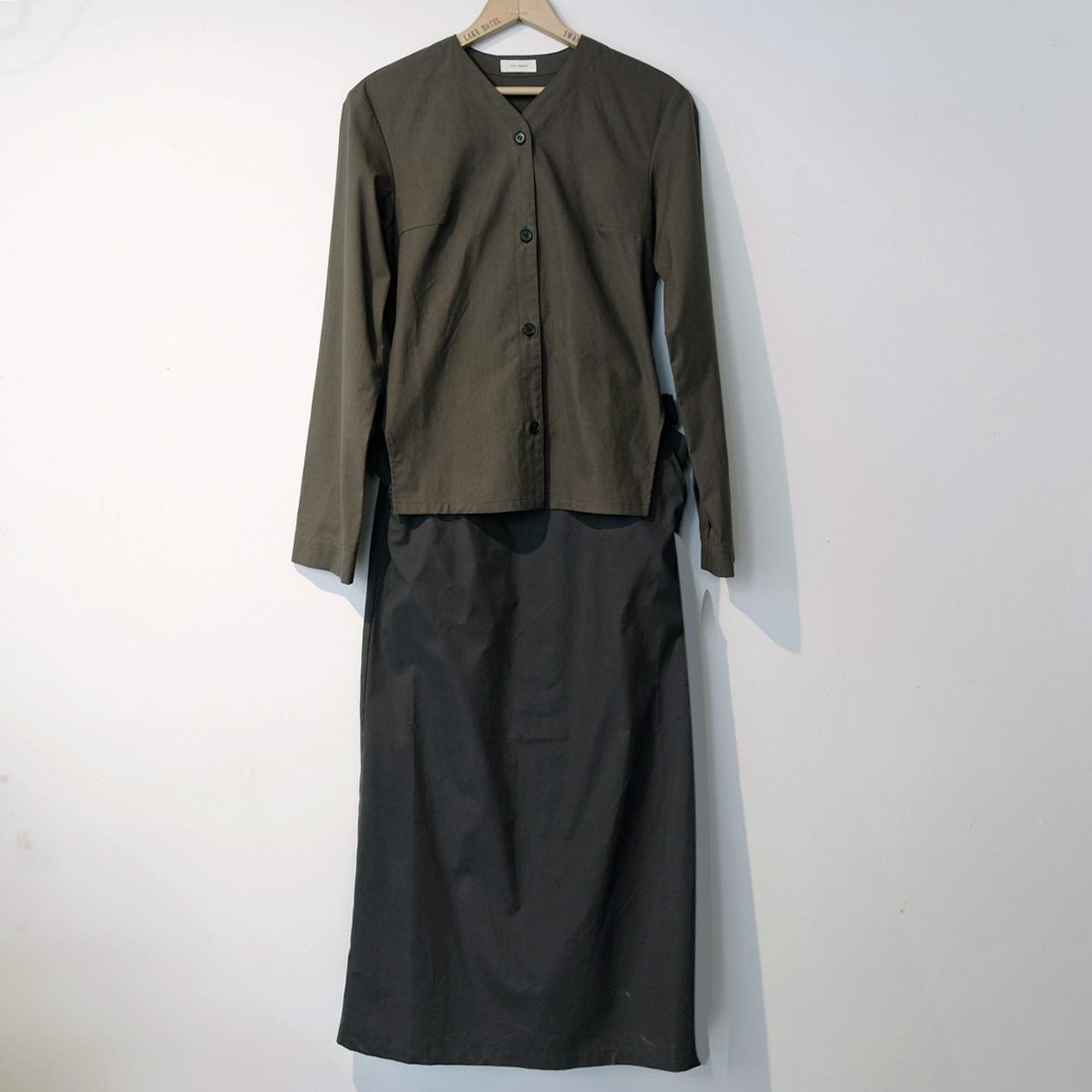 【the Sale!  40%off 】THE HINOKI ザ・ヒノキ  コットンパラシュート クロスセットアップドレス OLIVE BROWN×BLACK