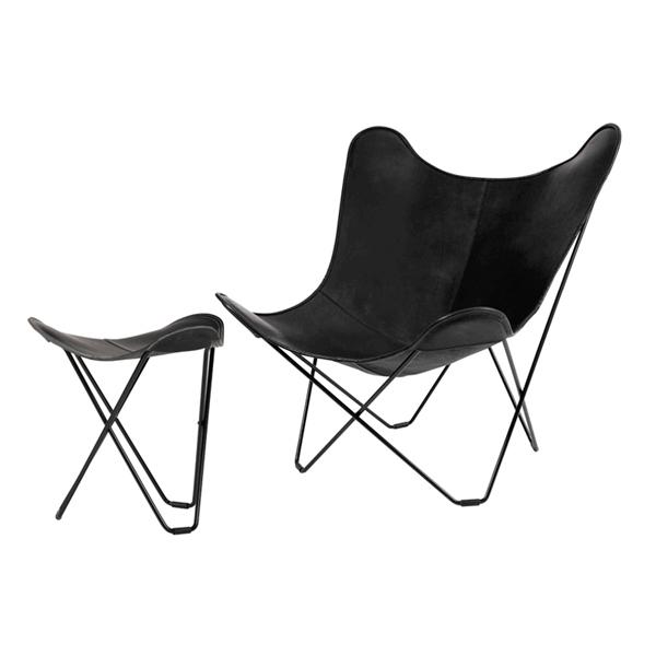 今だけPILLOW FOR BKFプレゼント! フットレストSET  cuero BKF Chair バタフライチェア ブラック
