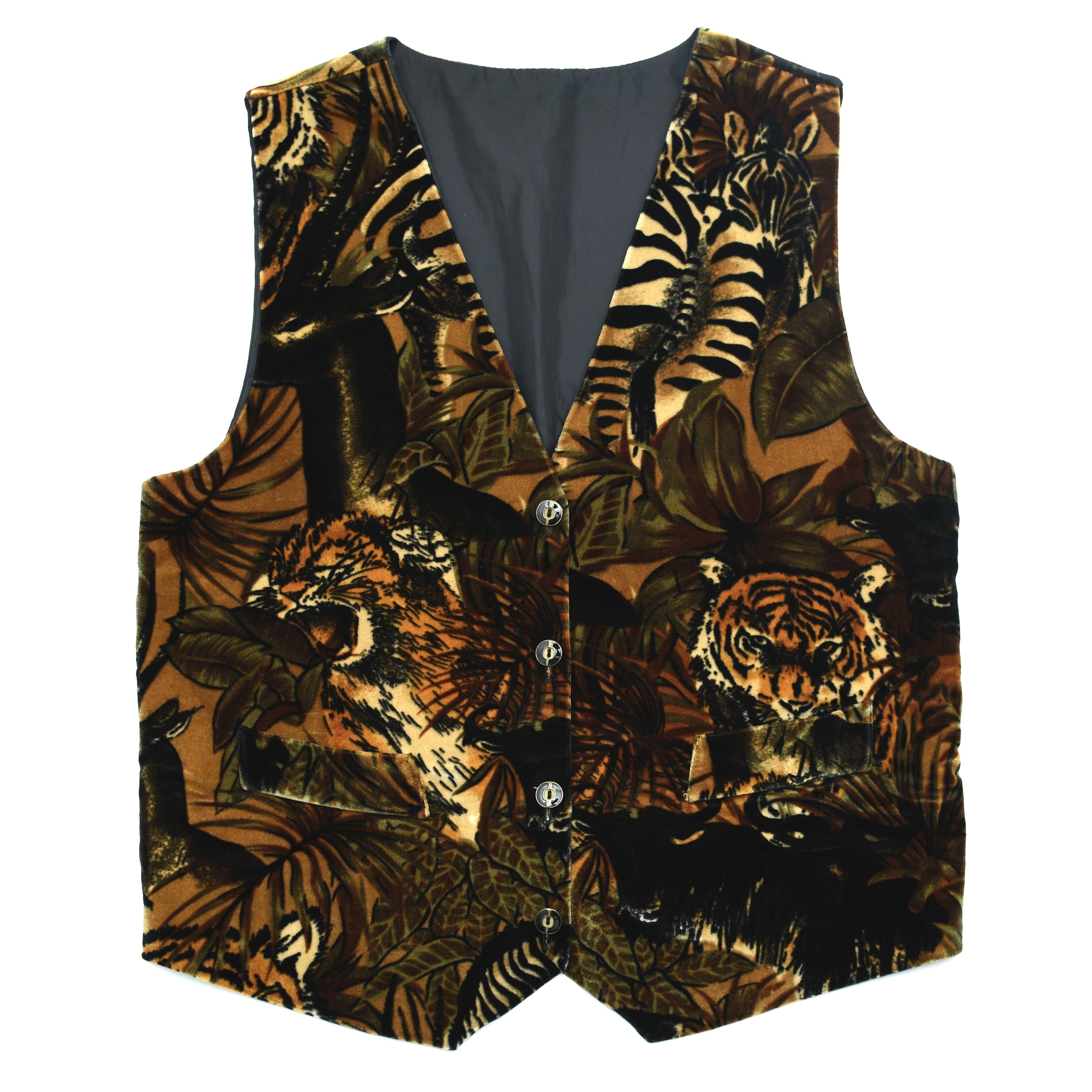 Unisex Animal pattern velour waistcoat