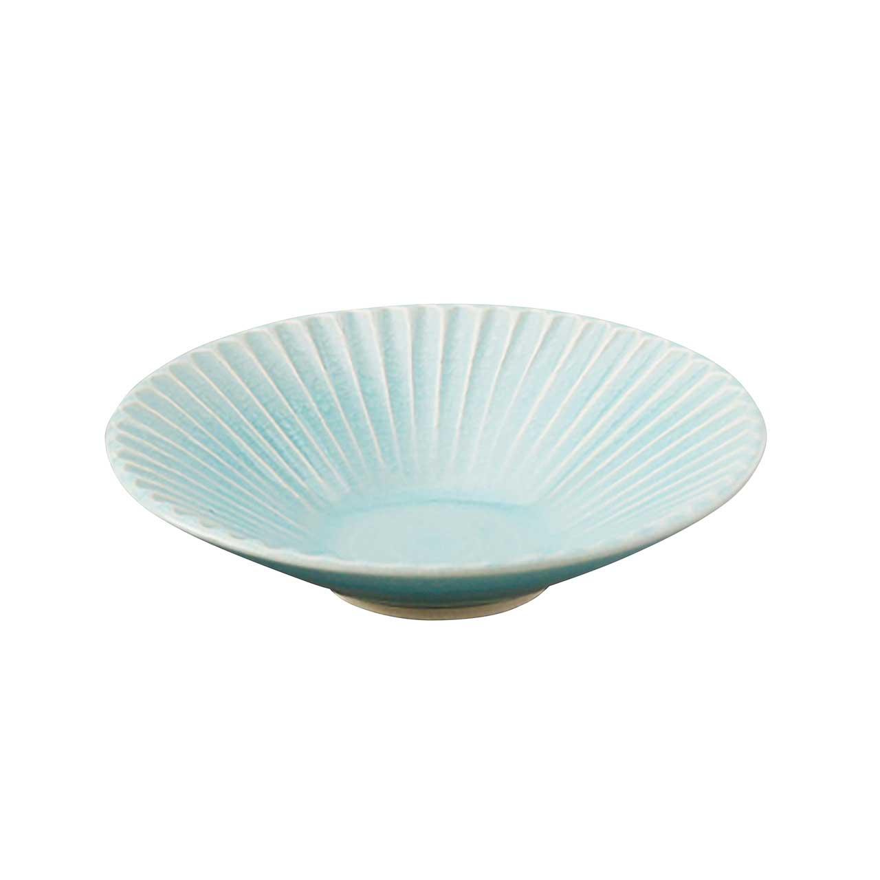 瀬戸焼 伍春窯 そぎ SOGI 反鉢 皿 5寸 約16cm スカイ ブルー 127-0402