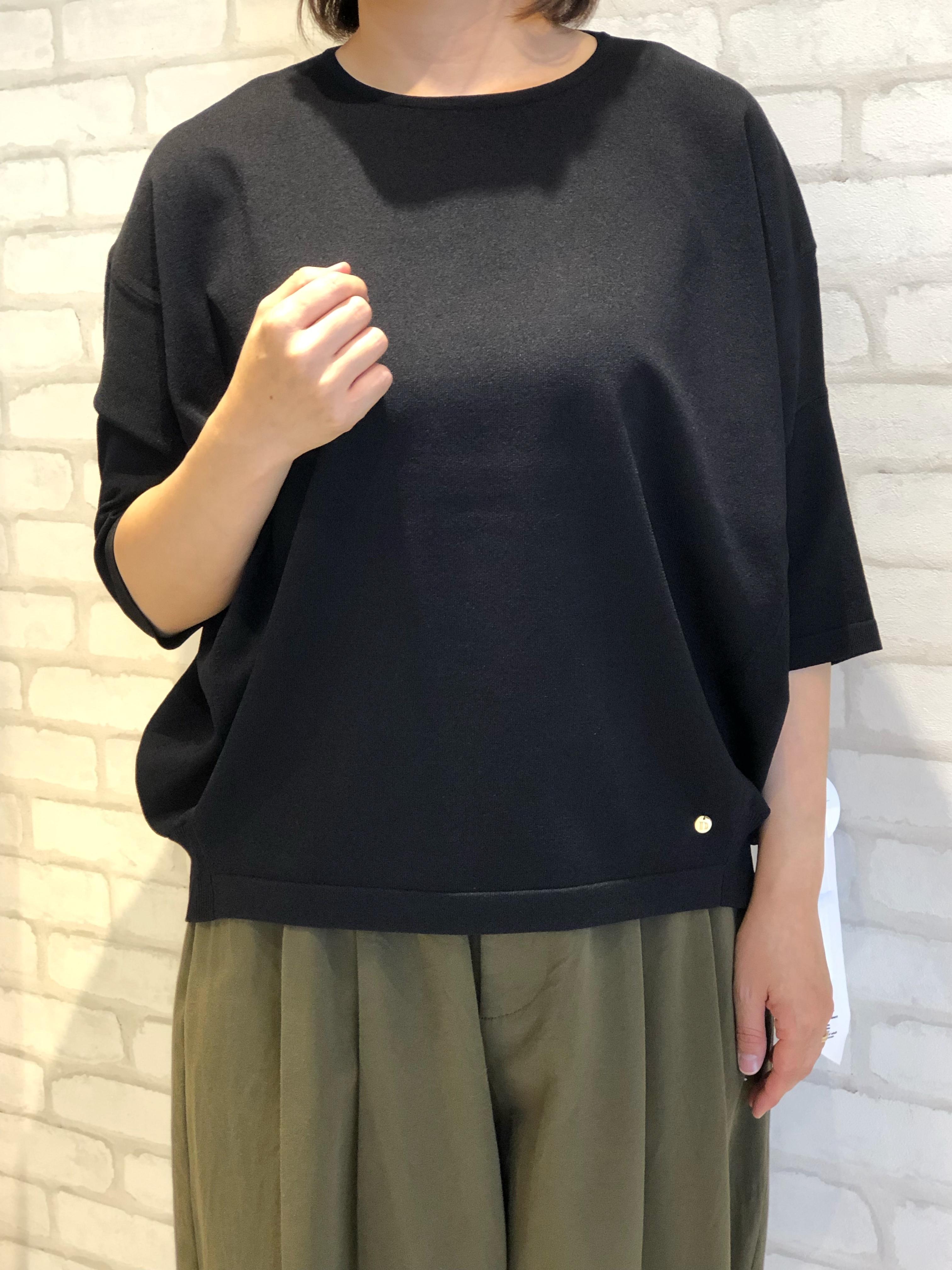 Dignite collier/802331/5分袖ウォッシャブルニット(ブラック)