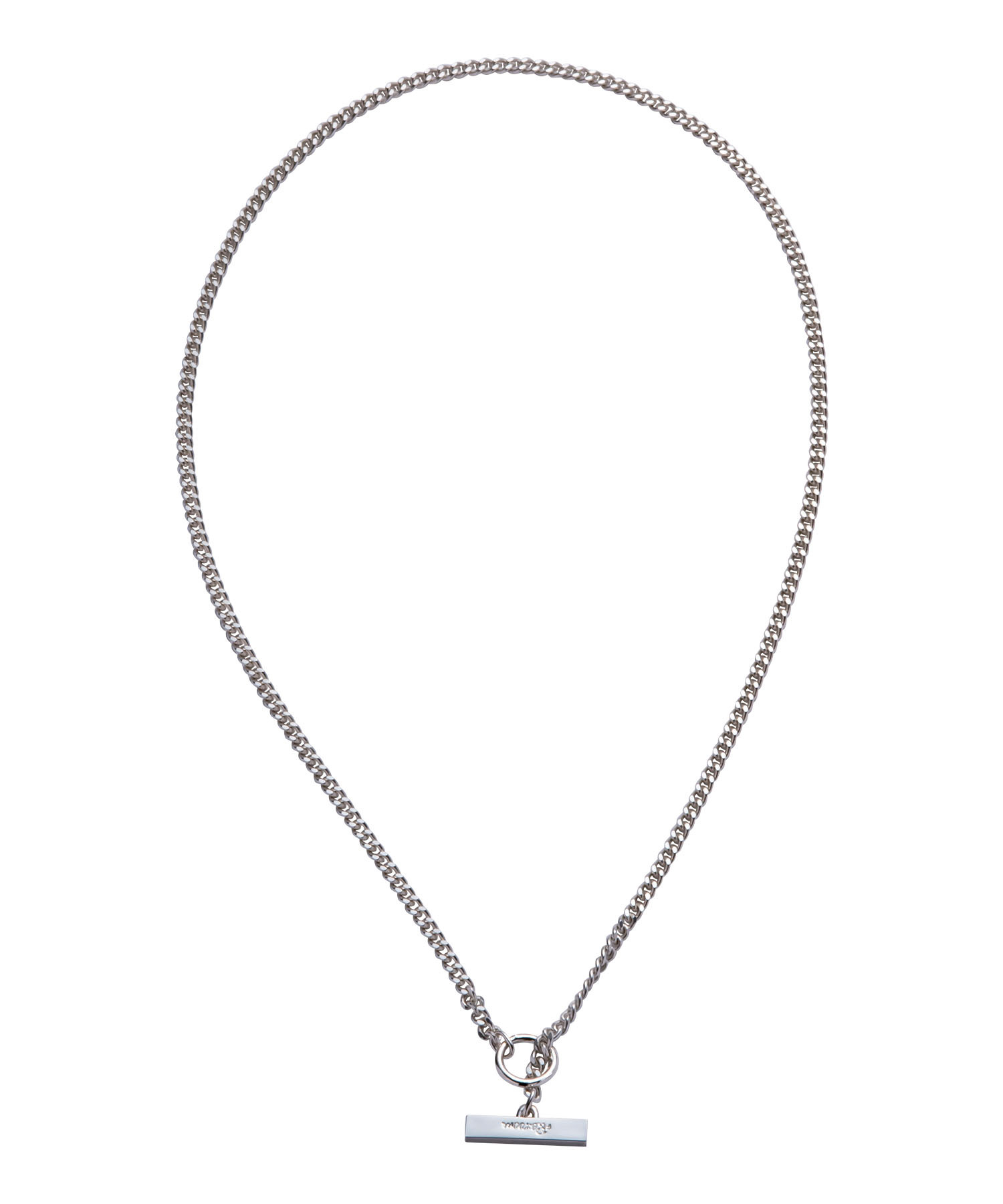 T BAR  FLAT LINK CHAIN NECKLACE-SILVER[REA154]