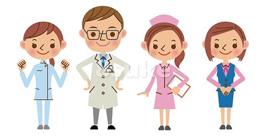 イラスト素材:医療スタッフ(医師・ナース・介護士・事務)4人セット(ベクター・JPG)