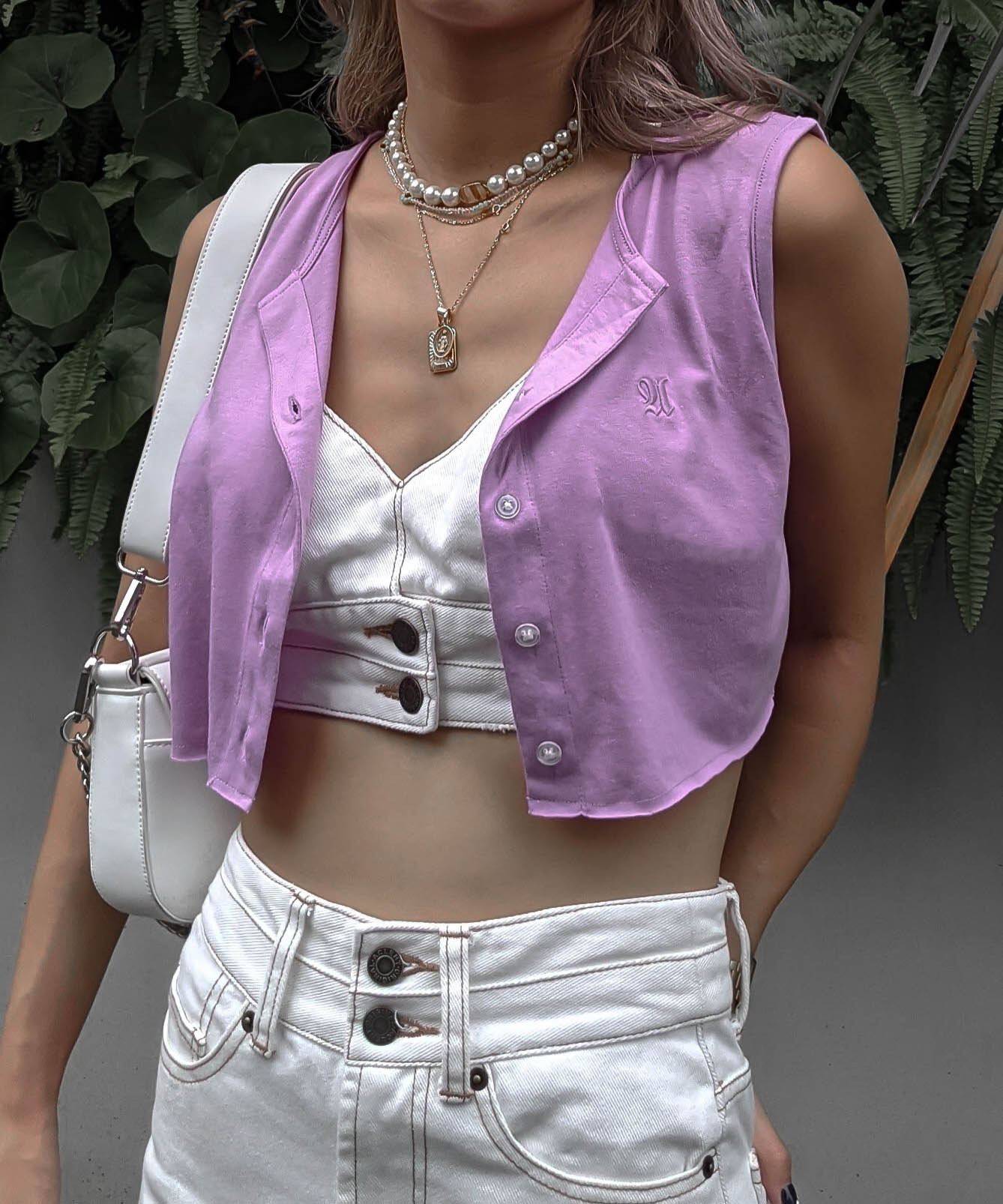 Front button cropped top