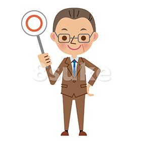 イラスト素材:中年ビジネスマンの正解・OKイメージ(ベクター・JPG)