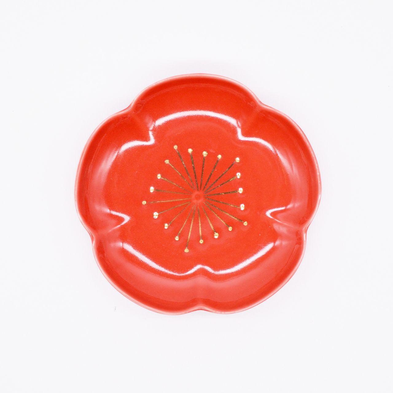 【限定1点 アウトレット品】有田焼 梅型3寸 皿 赤 252830 豆豆市051