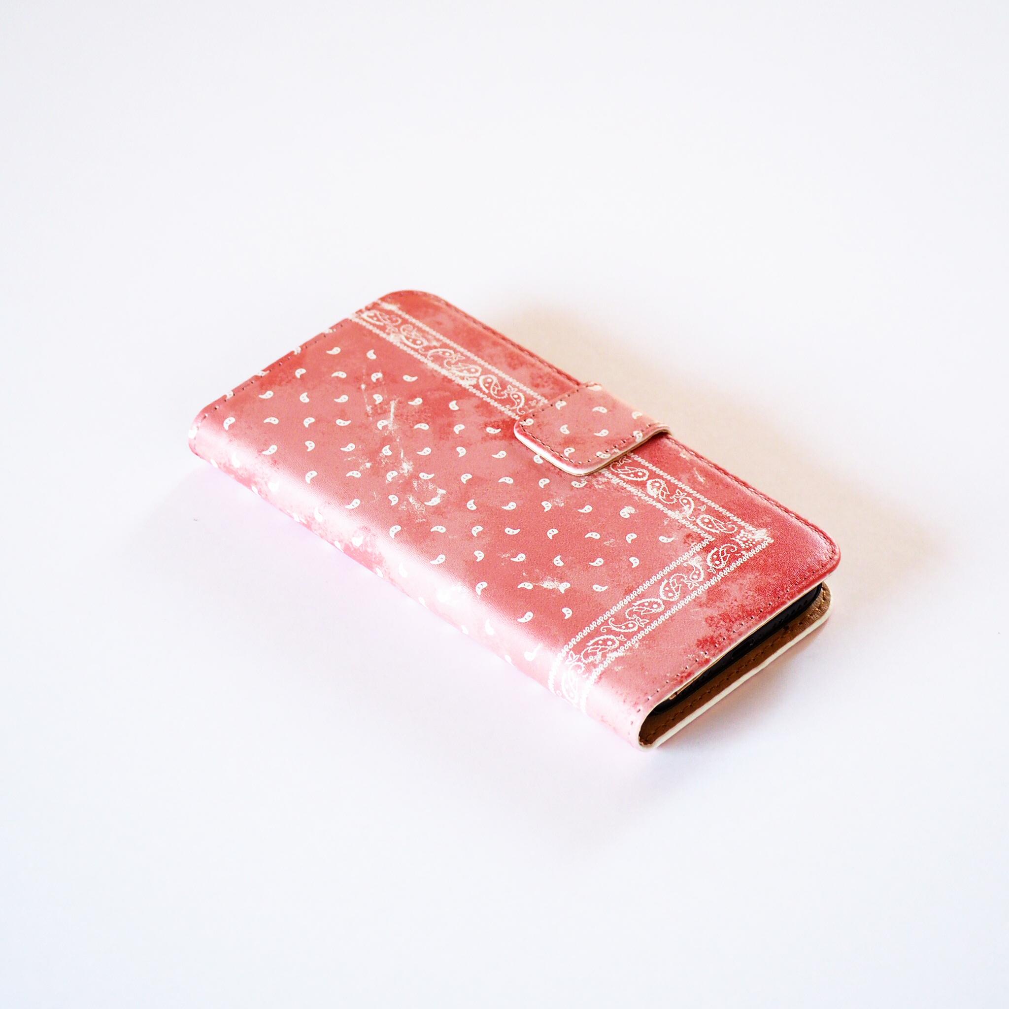 ピンクペイズリー 手帳型スマホケース