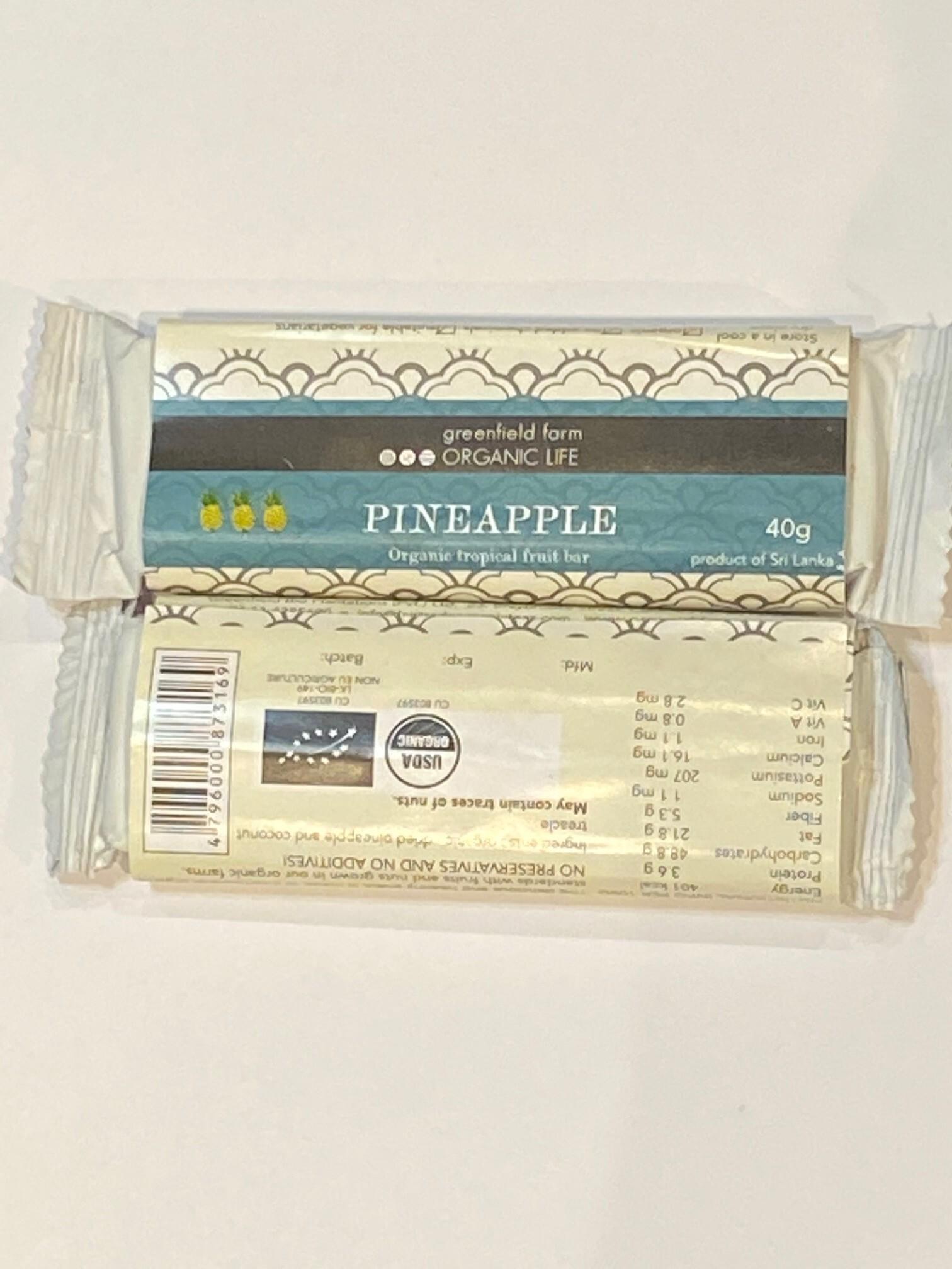 【 グルテンフリー 】 ビーガン系 パイナップル  フルーツバー  ( 低GI )( USDA organic ) スリランカ産