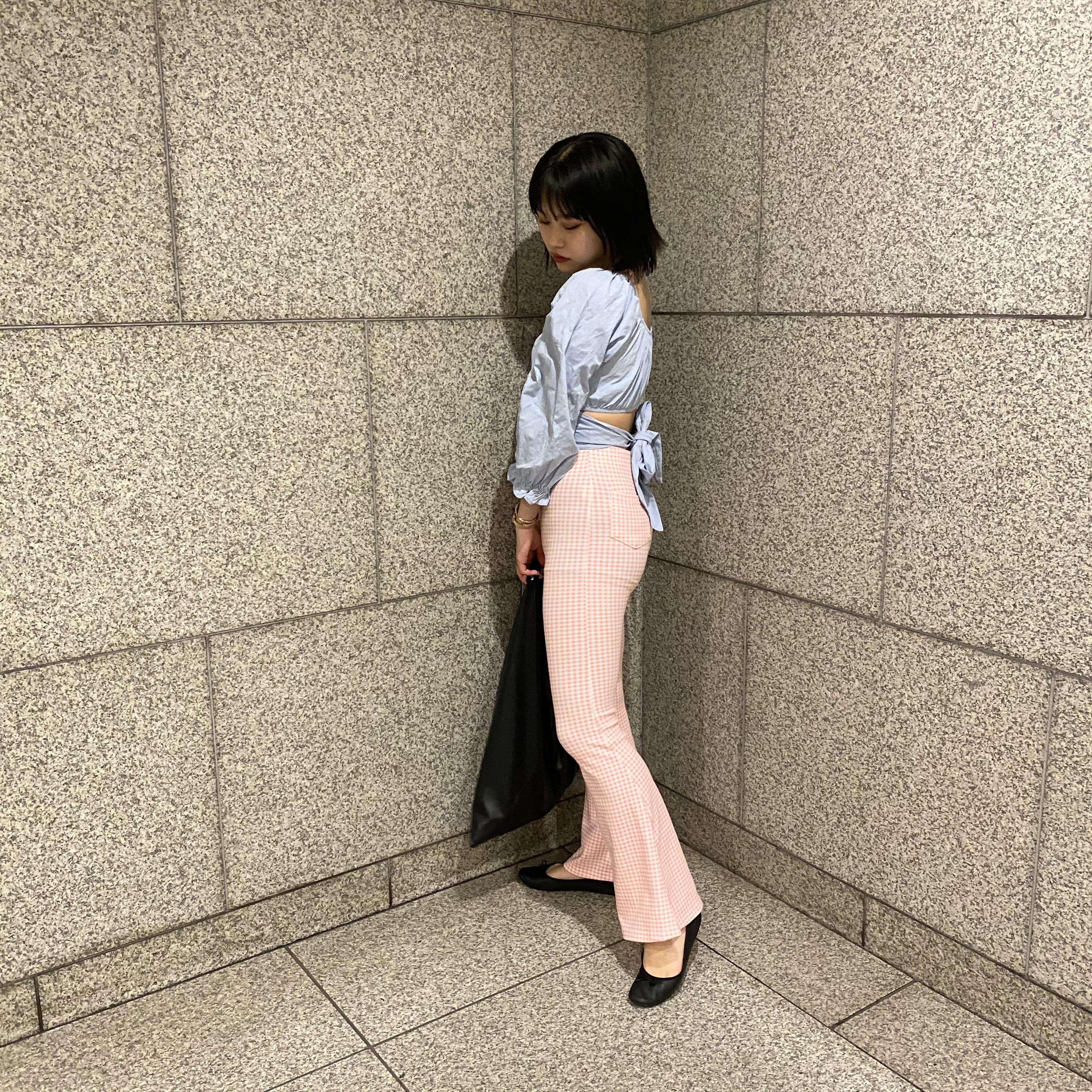 【Belle】lovely back ribbon blouse / blue