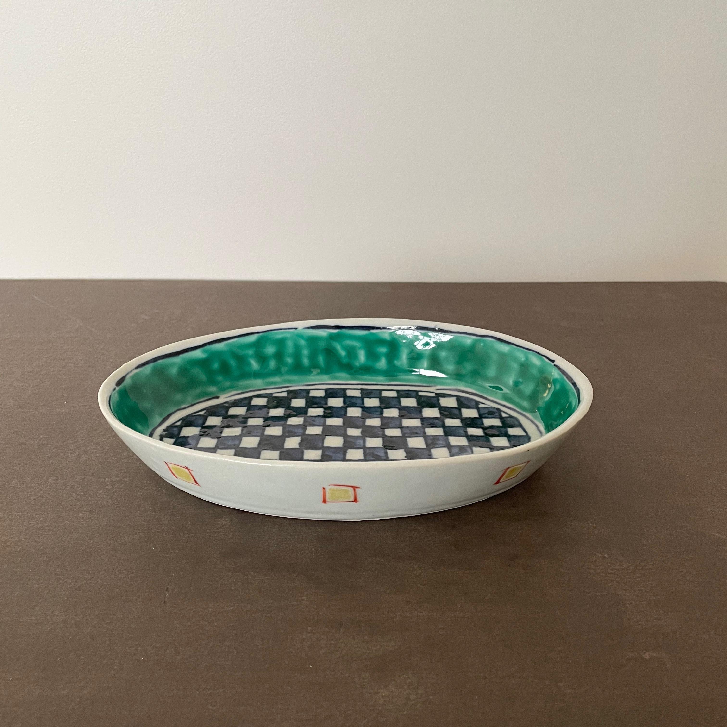 9 中尾万作   緑巻格子楕円深皿