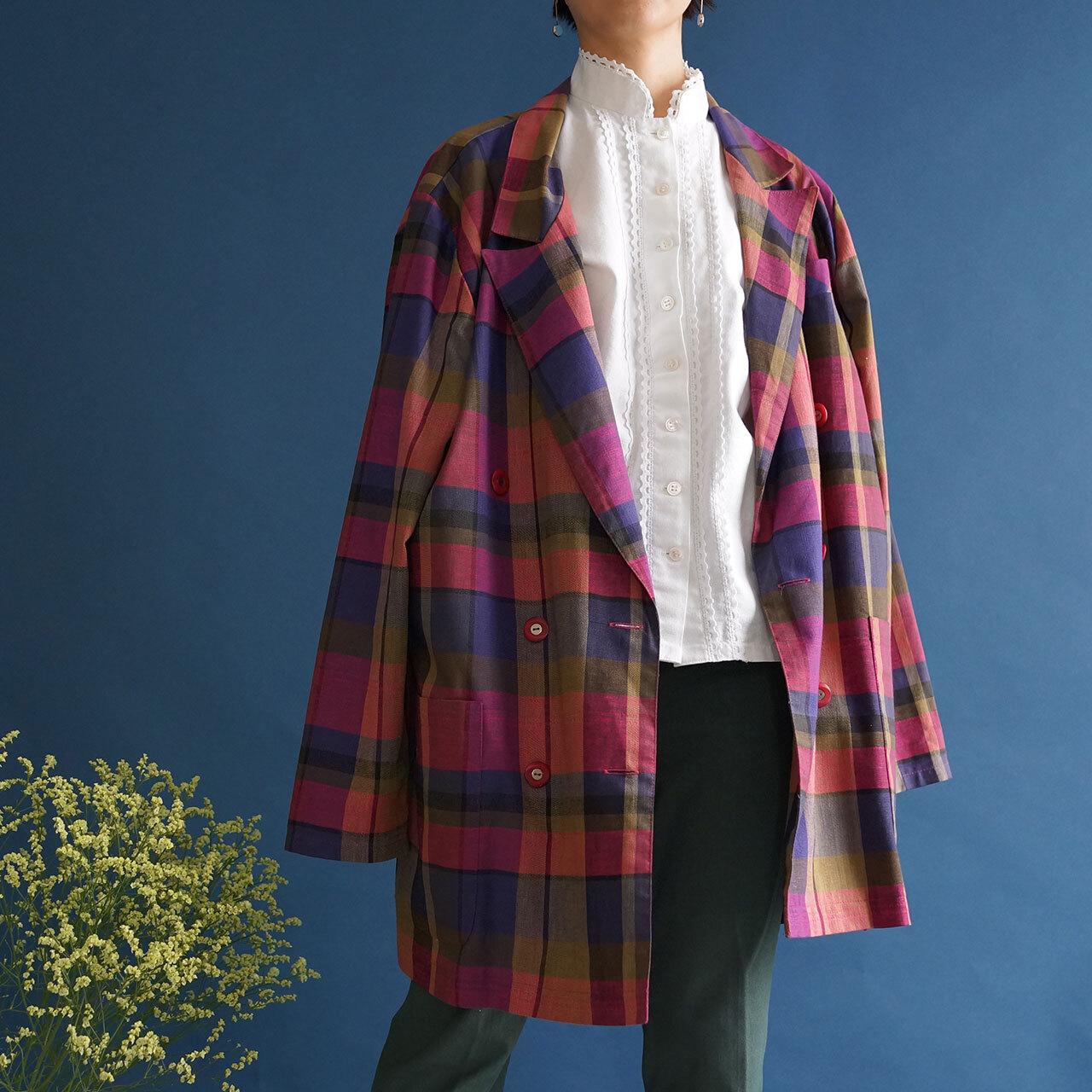 【送料無料】80's vintage colorful plaid double jacket with pockets