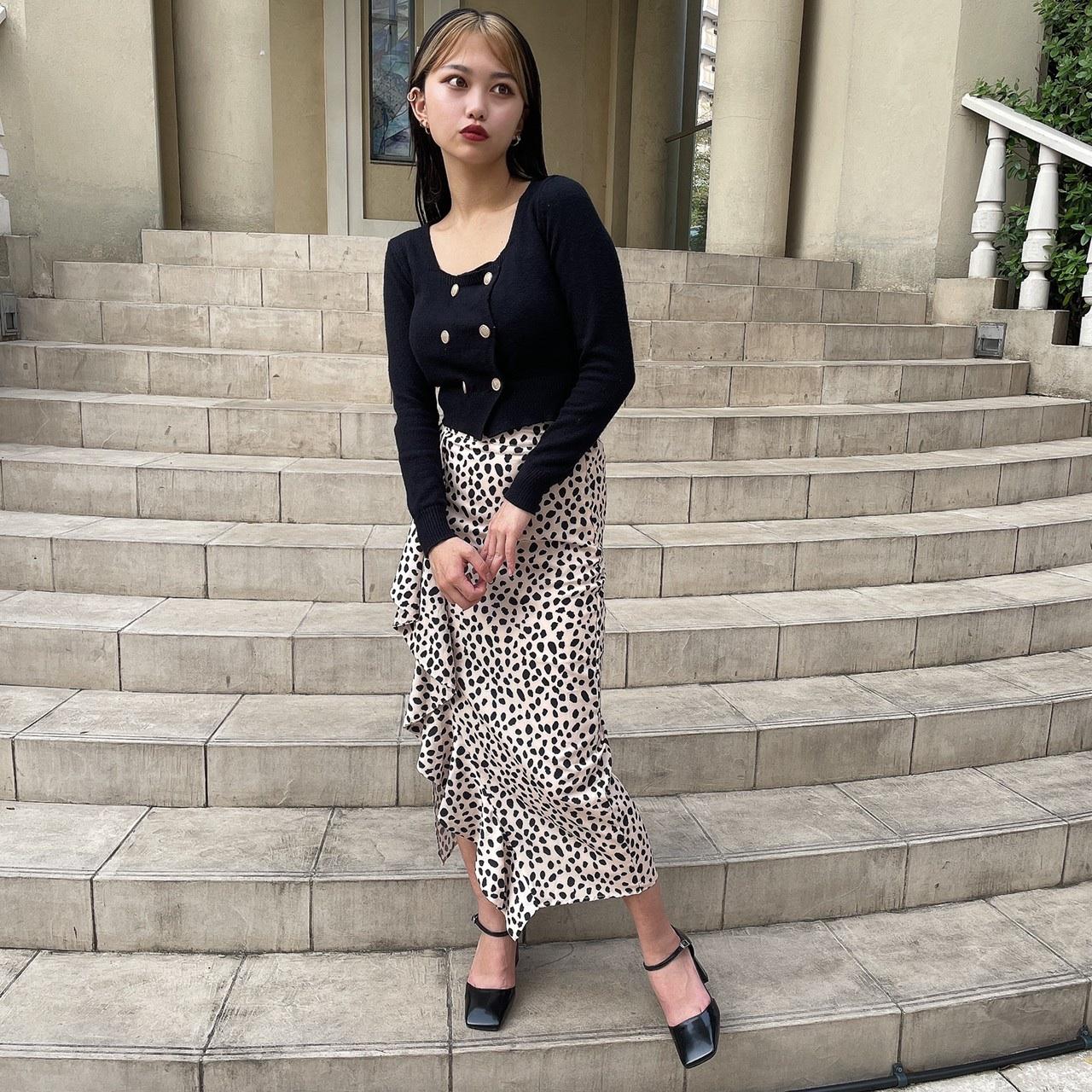 【Belle】leopard frill skirt / beige