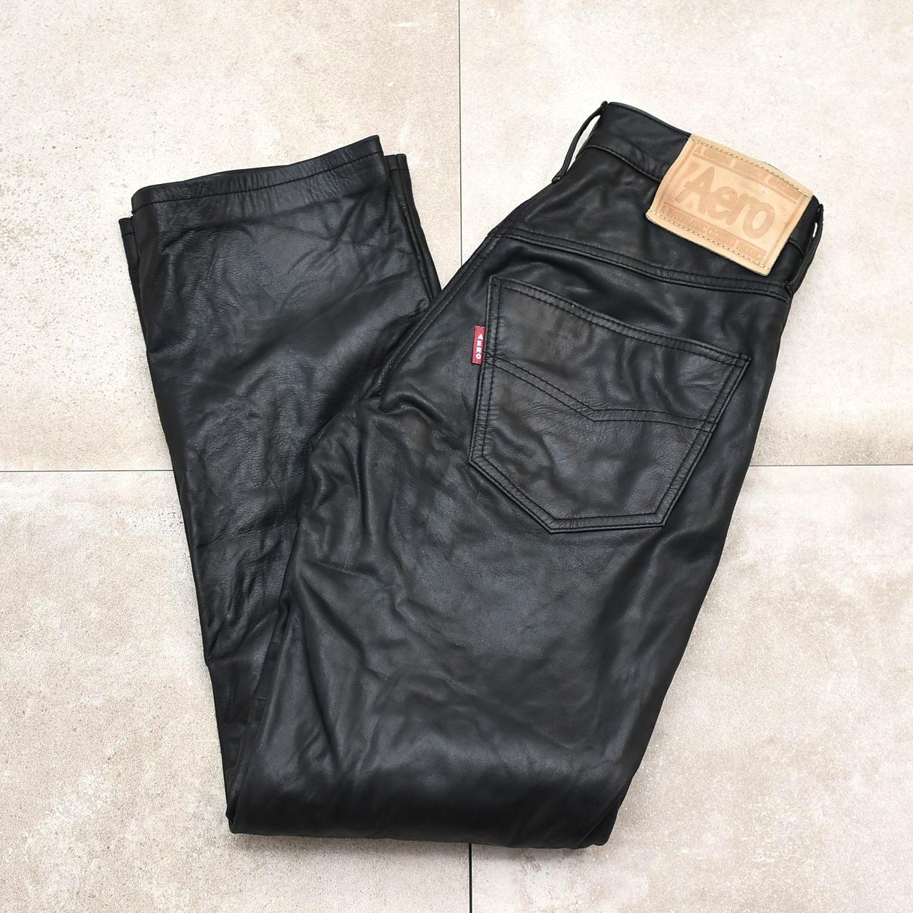 Aero Steerhide black leather pants