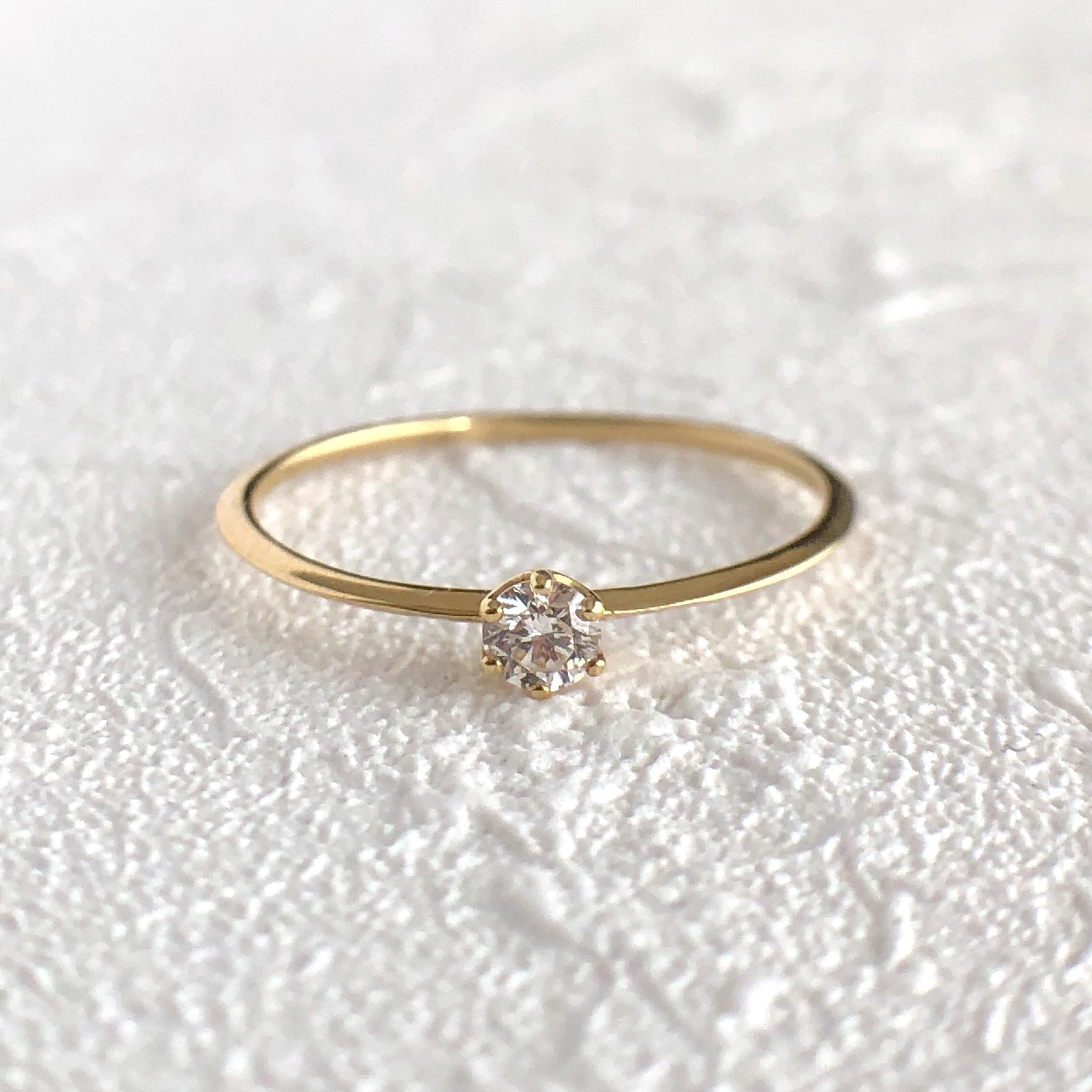 ミルククラウン ダイヤモンド  リング  0.07ct  K18イエローゴールド/ピンクゴールド チェカ 鑑別書付