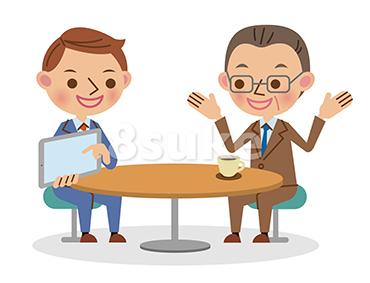 イラスト素材:タブレット端末を使って商談するビジネスマン/男性2人(ベクター・JPG)