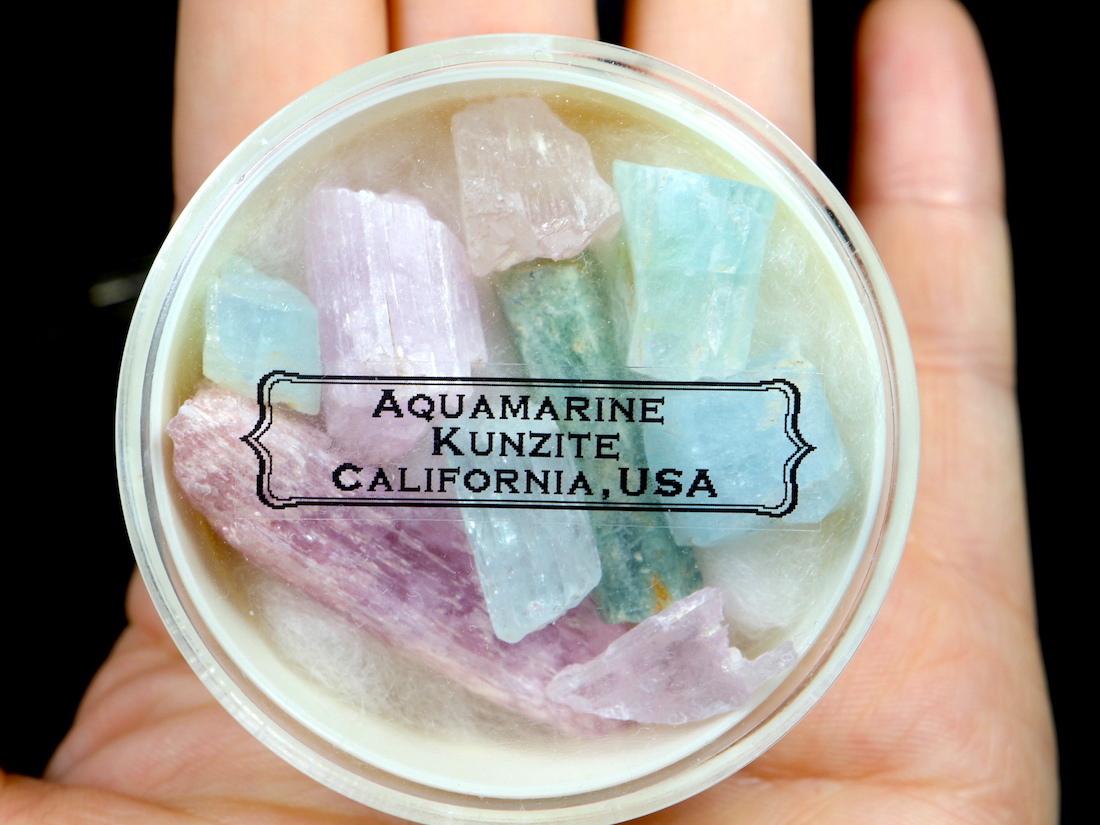 【鉱物標本セット】アクアマリン & クンツァイト カリフォルニアオーシャンビュー鉱山産  AQ074 天然石 鉱物 パワーストーン