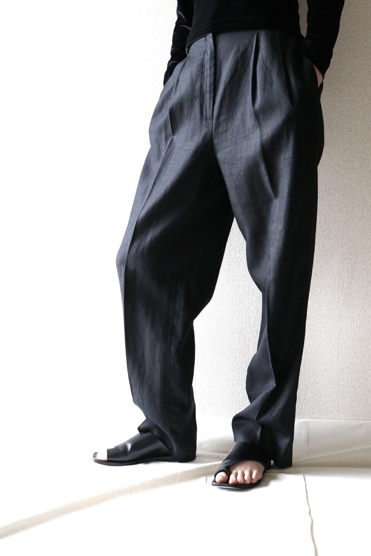 Vintage black pure linen slacks