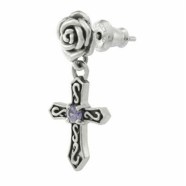 ローズクロスドロップピアス シルバーピアス 片耳分 AKE0081 Rose cross drop earrings Silver earrings for one ear
