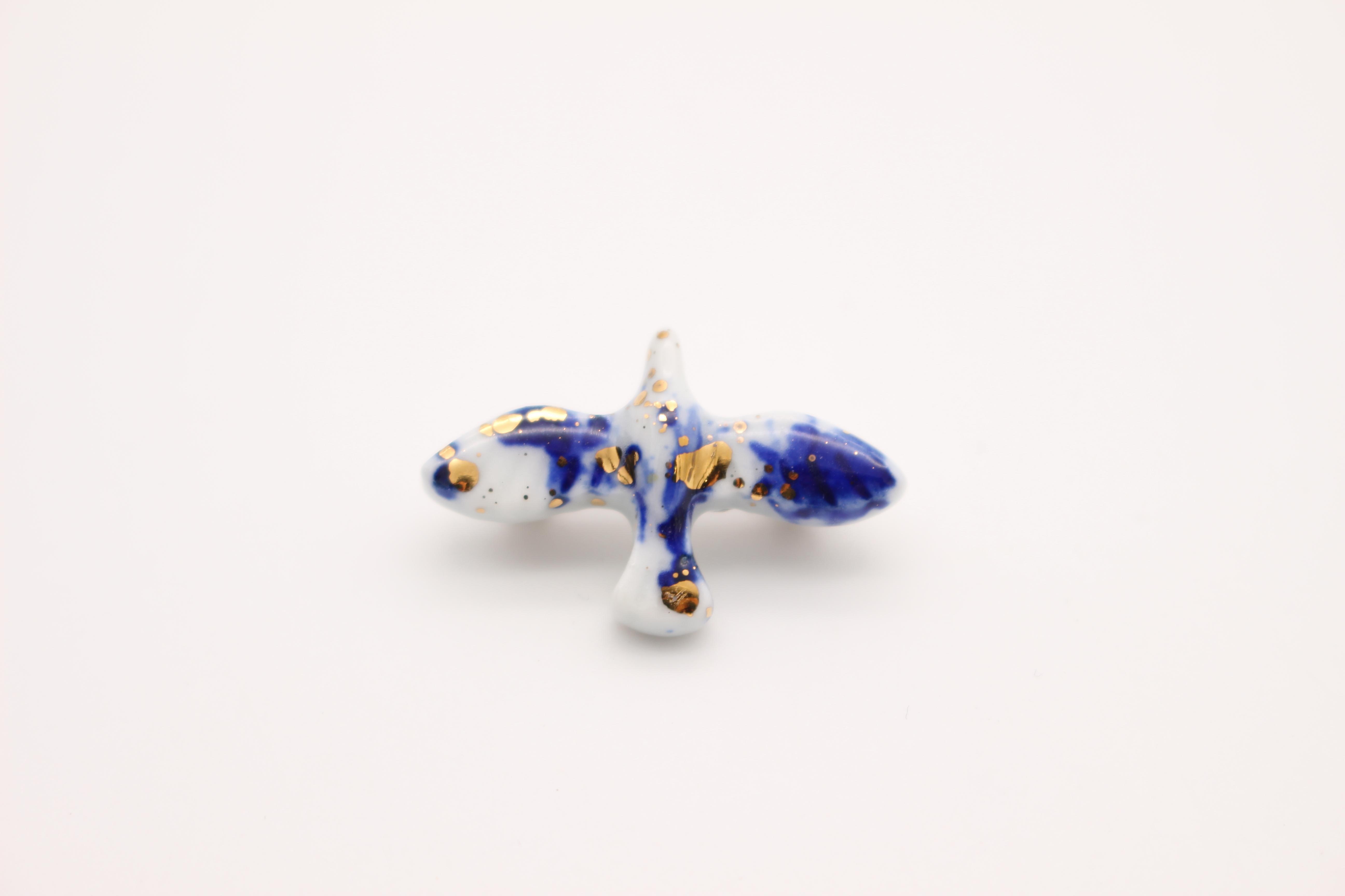 鳥ブローチ Sサイズ 呉須×ゴールド
