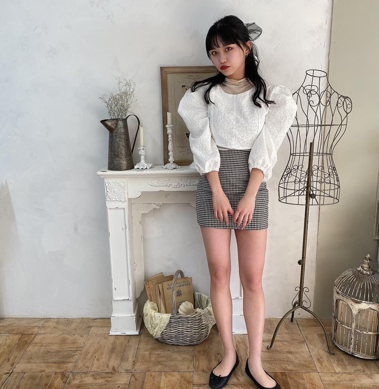 【Belle】mini flower blouse / white