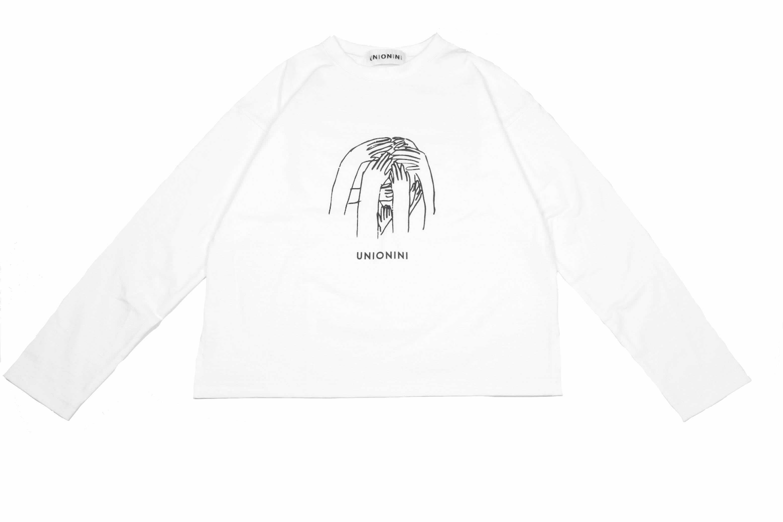 "《UNIONINI 2019AW》""nazo"" long sleeved tee / white"