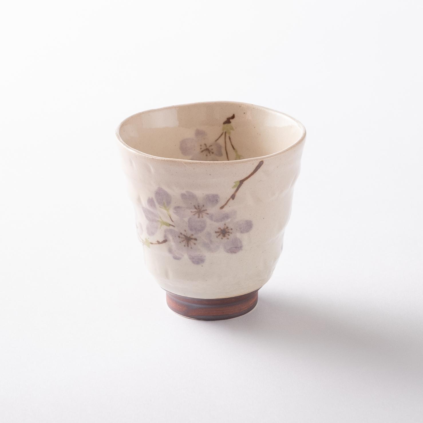 【美濃焼】軽量湯呑み「軽い湯呑 京桜 紫」