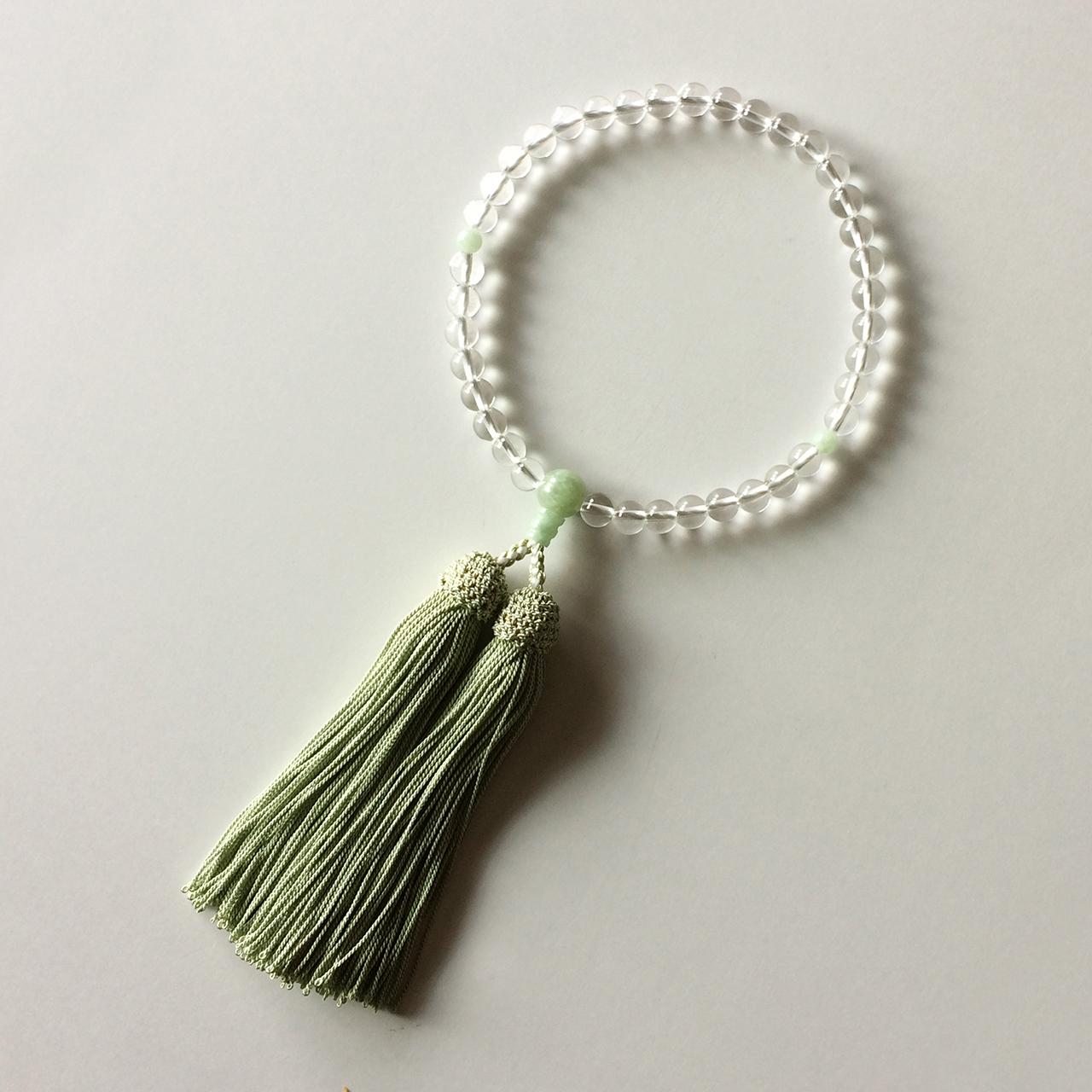 正絹房 略式念珠 水晶 アマゾンヒスイ仕立