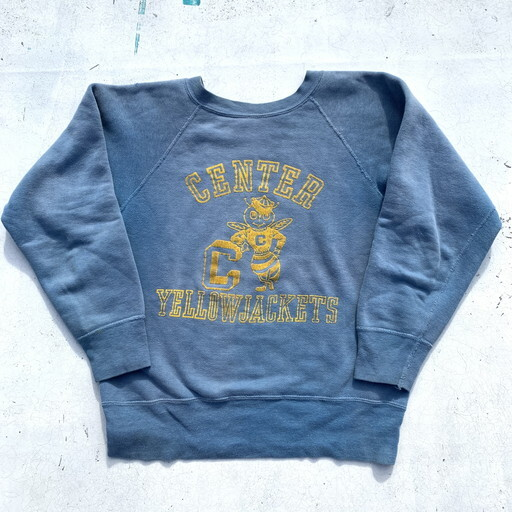 60's UNKNOWN CENTER YELLOW JACKETS フロッキープリント スウェット ライトブルー イエロー ラグラン カレッジ S~M位 希少 ヴィンテージ