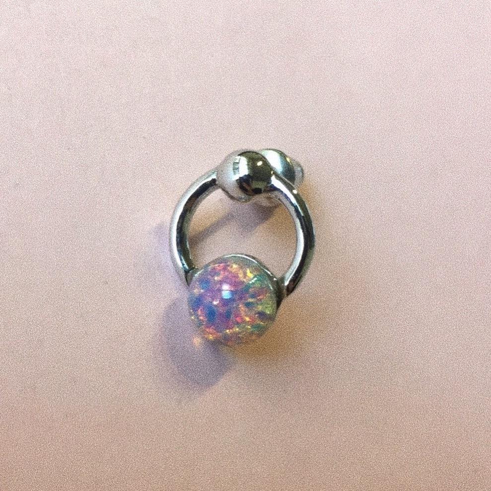 Vintage glass Ring Earring #1785 silver 片耳 ヴィンテージガラスリングピアス/シルバー