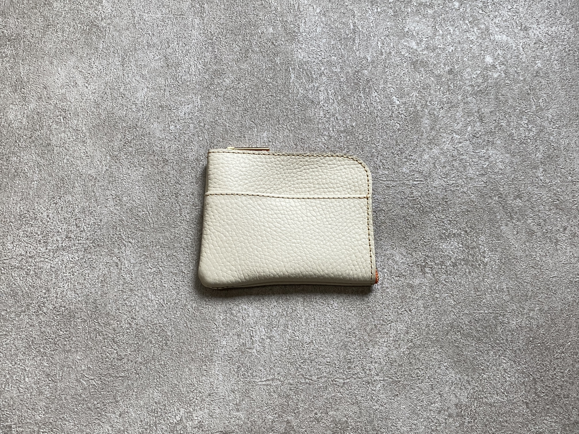 L-shaped Small Wallet: (soft shrink) Color : Cream