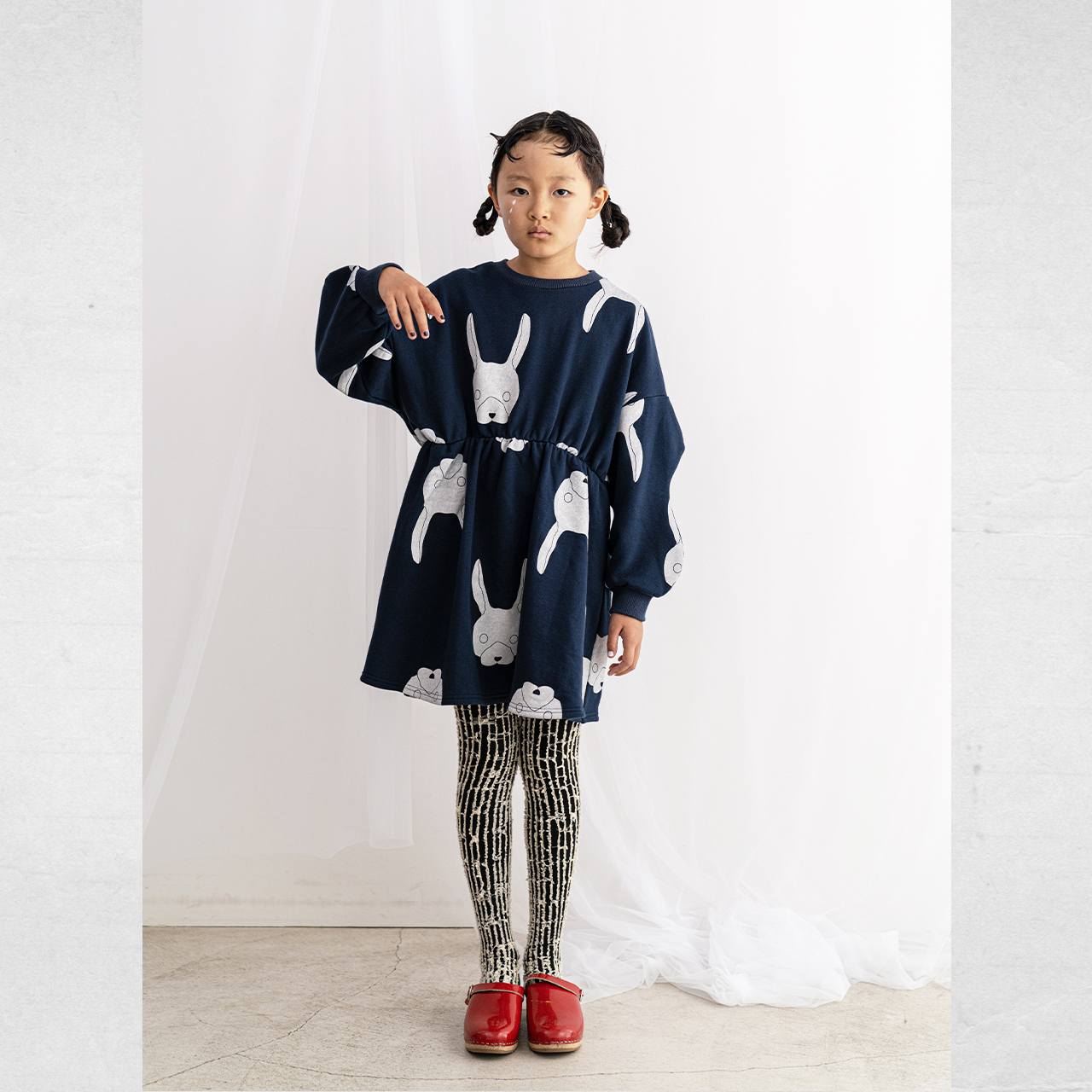 WAIST GATHER SWEAT DRESS / S - L