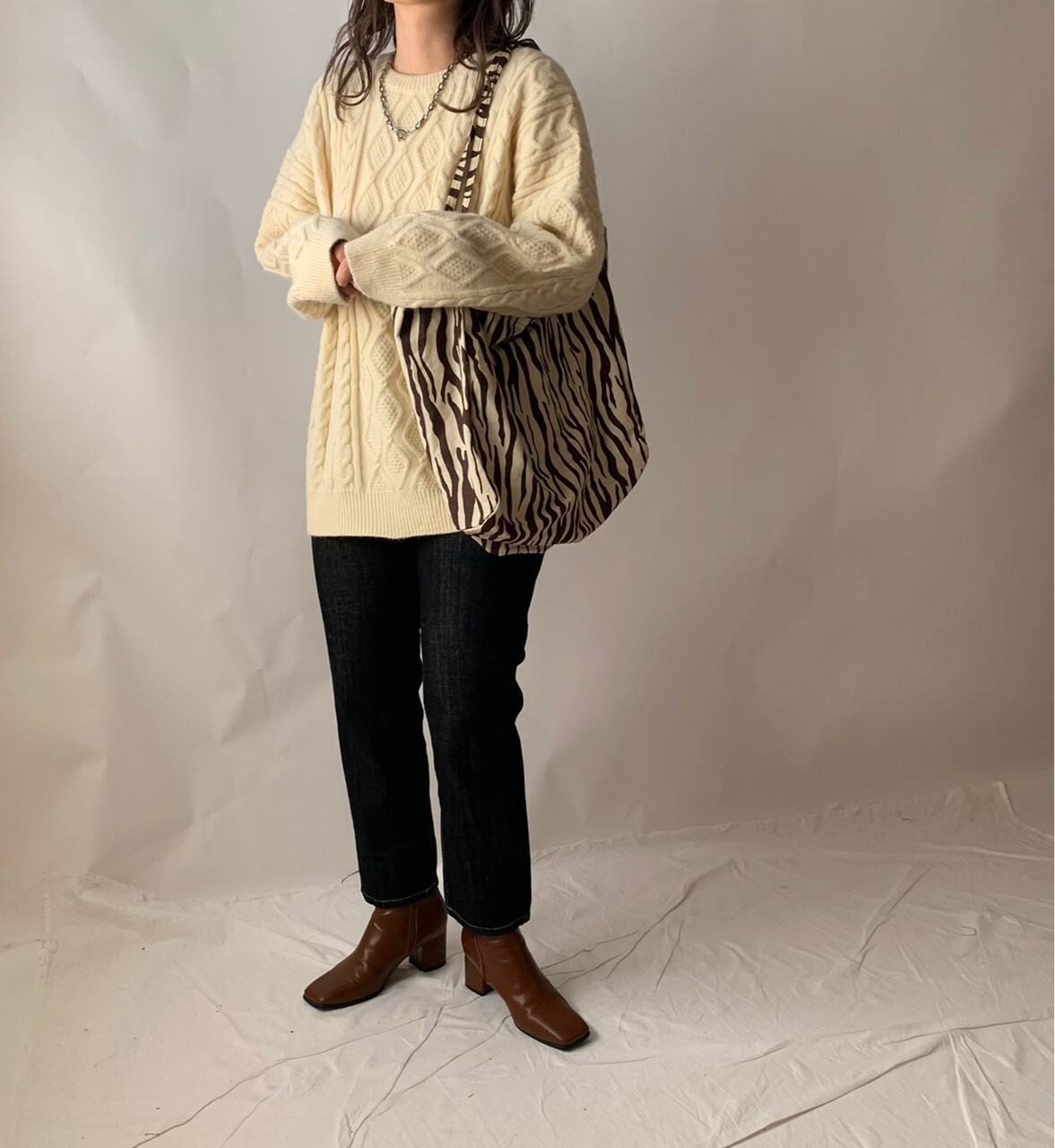【asyu】cable knit tunic