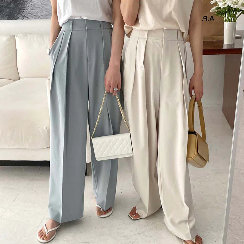 High Waist  Loose slacks(white / blue)