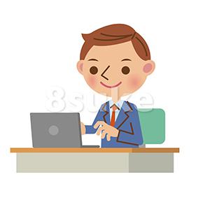 イラスト素材:ノートパソコンを使うビジネスマン/バストアップ(ベクター・JPG)