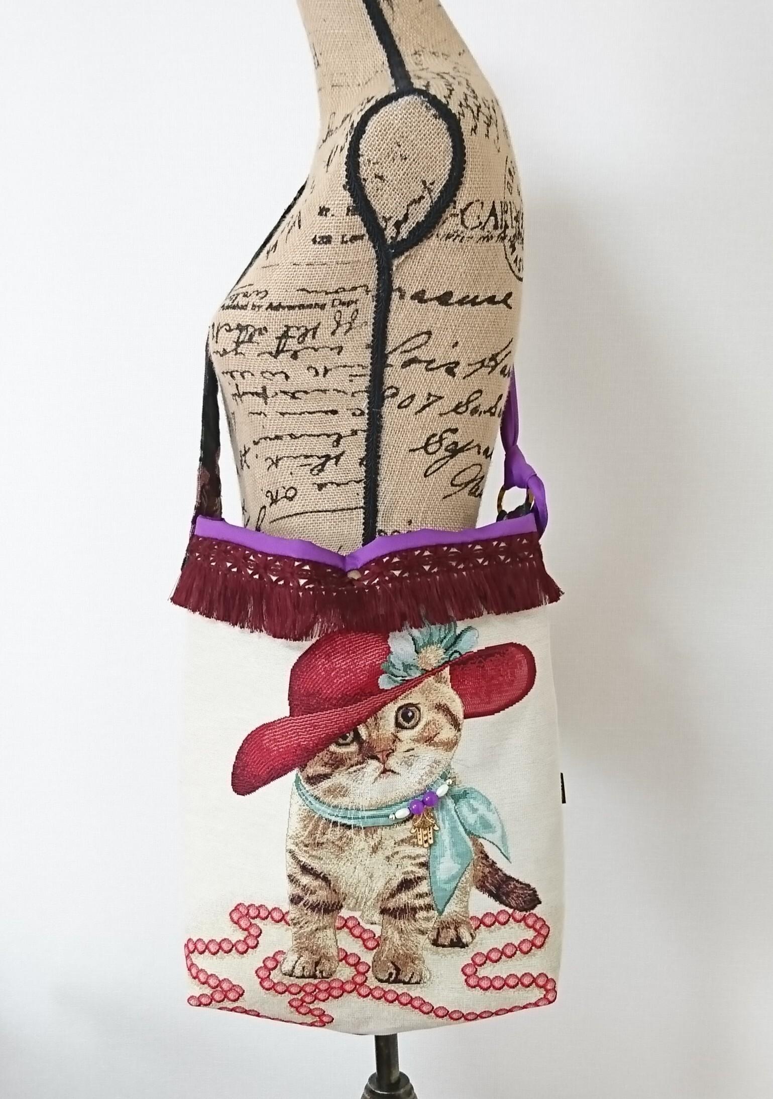 スペインゴブラン猫の3wayバッグ【Miss マンチカン】