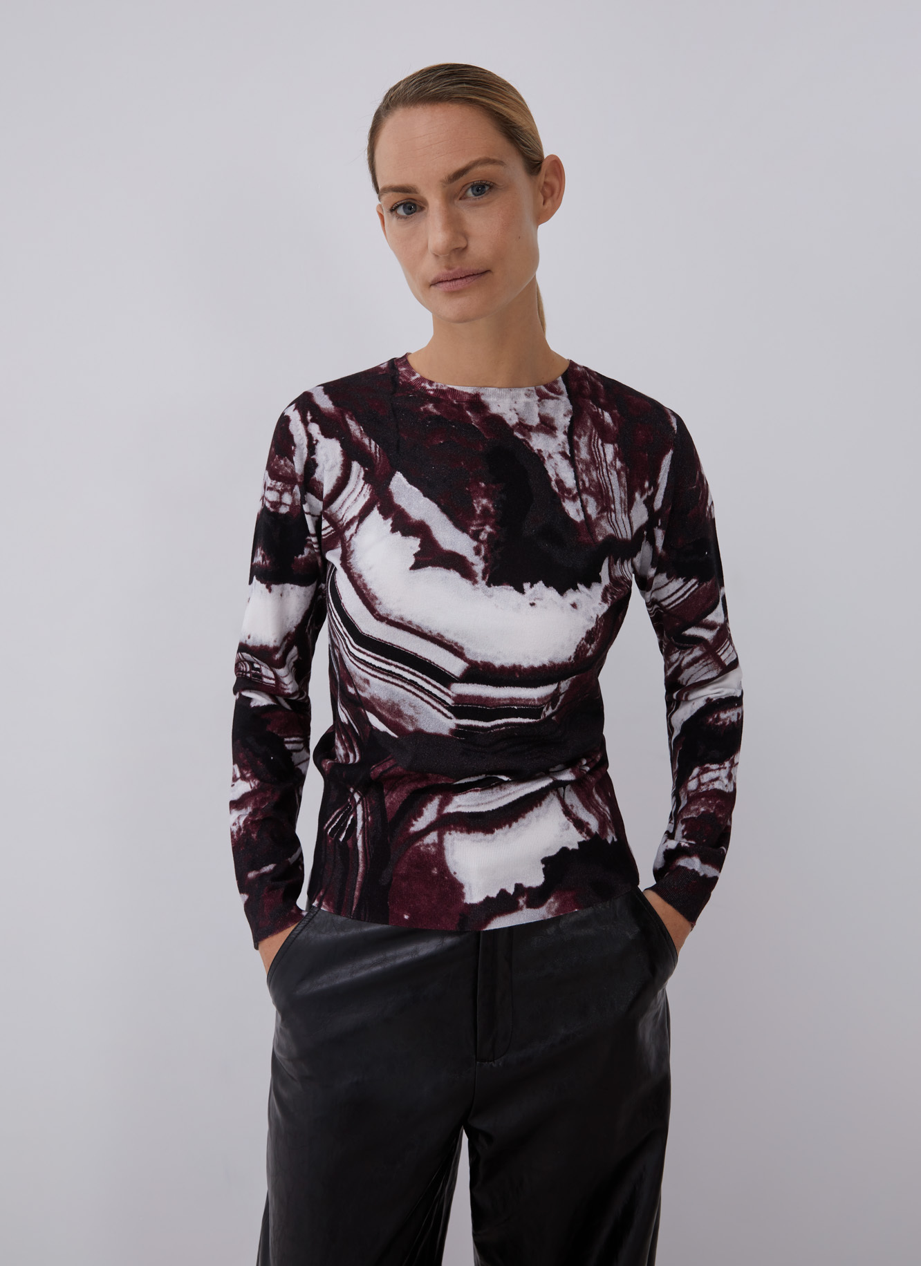 PRINTED SWEATER WITH CREW COLLAR