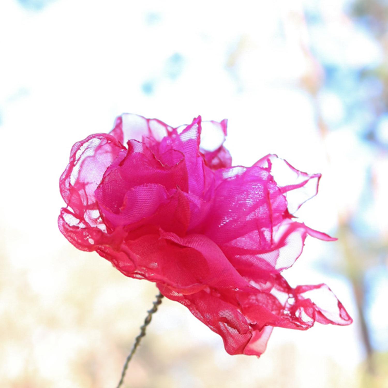 赤ピンク|カラフルオーガンジーのアートフラワー【造花】