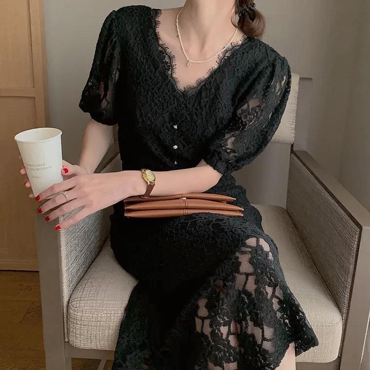 crochet lace dress 2color