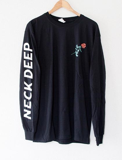 ※Restock【NECK DEEP】Rose Text Long Sleeve (Black)
