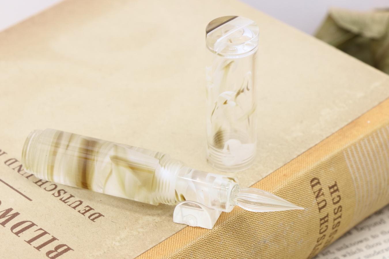 「Lapis mini・アマレットジンジャー」Viriditas手作りキャップ付きガラスペン
