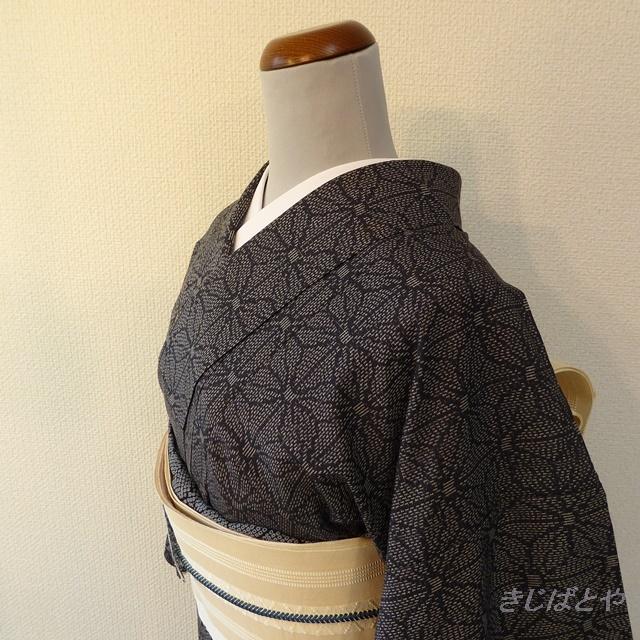 正絹紬 紺に麻の葉の小紋 単衣